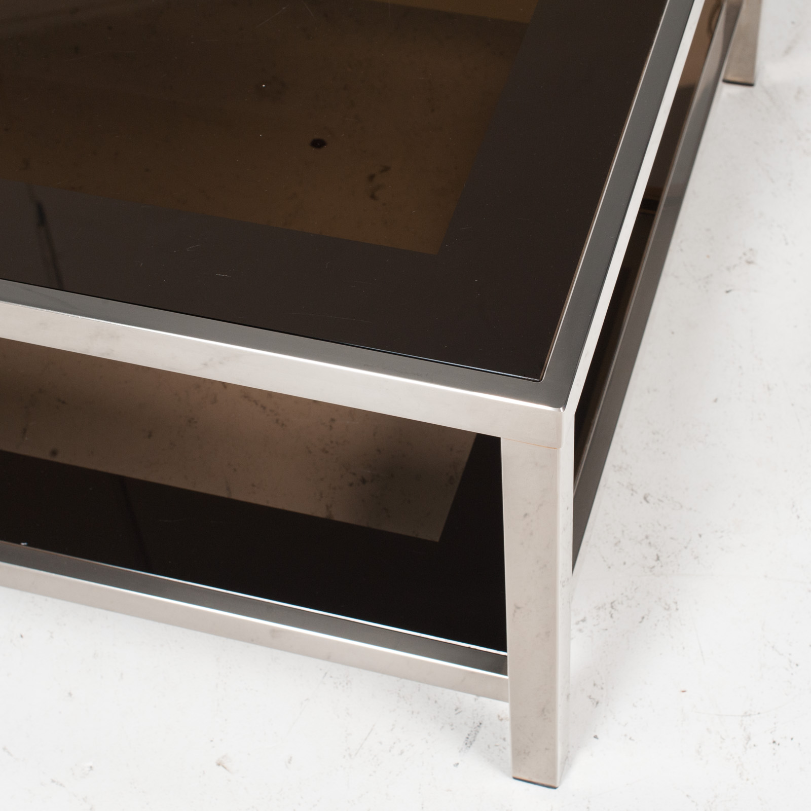 Coffee Table By Belgo Chrome In Smoked Glass, 1970s, Belgium 8
