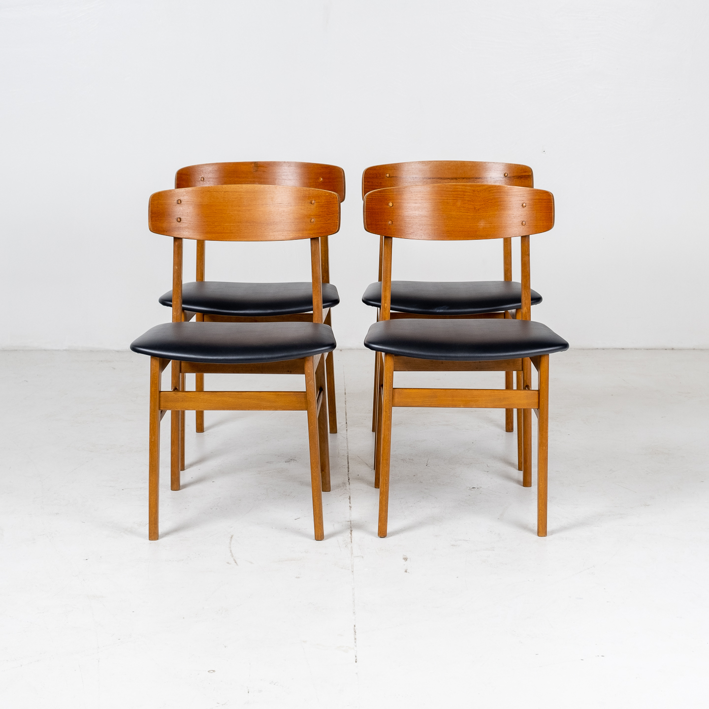 Set Of Four Square Back Dining Chairs By Fastrup In Teak, 1960s, Denmark05