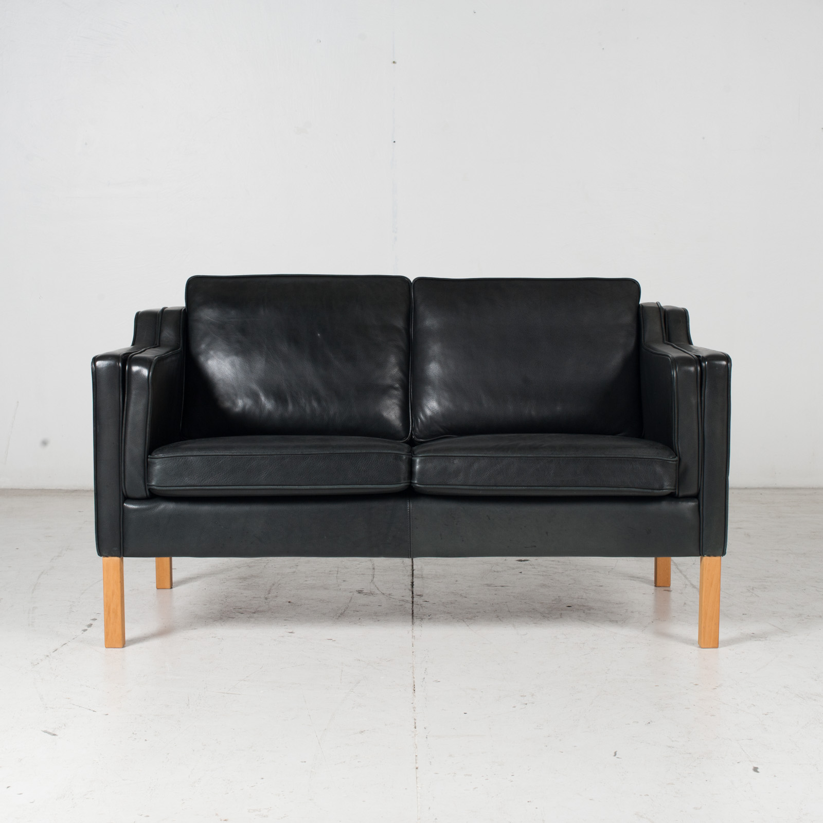 2 Seat Sofa By Stouby In Black Leather, 1960s, Denmark 1