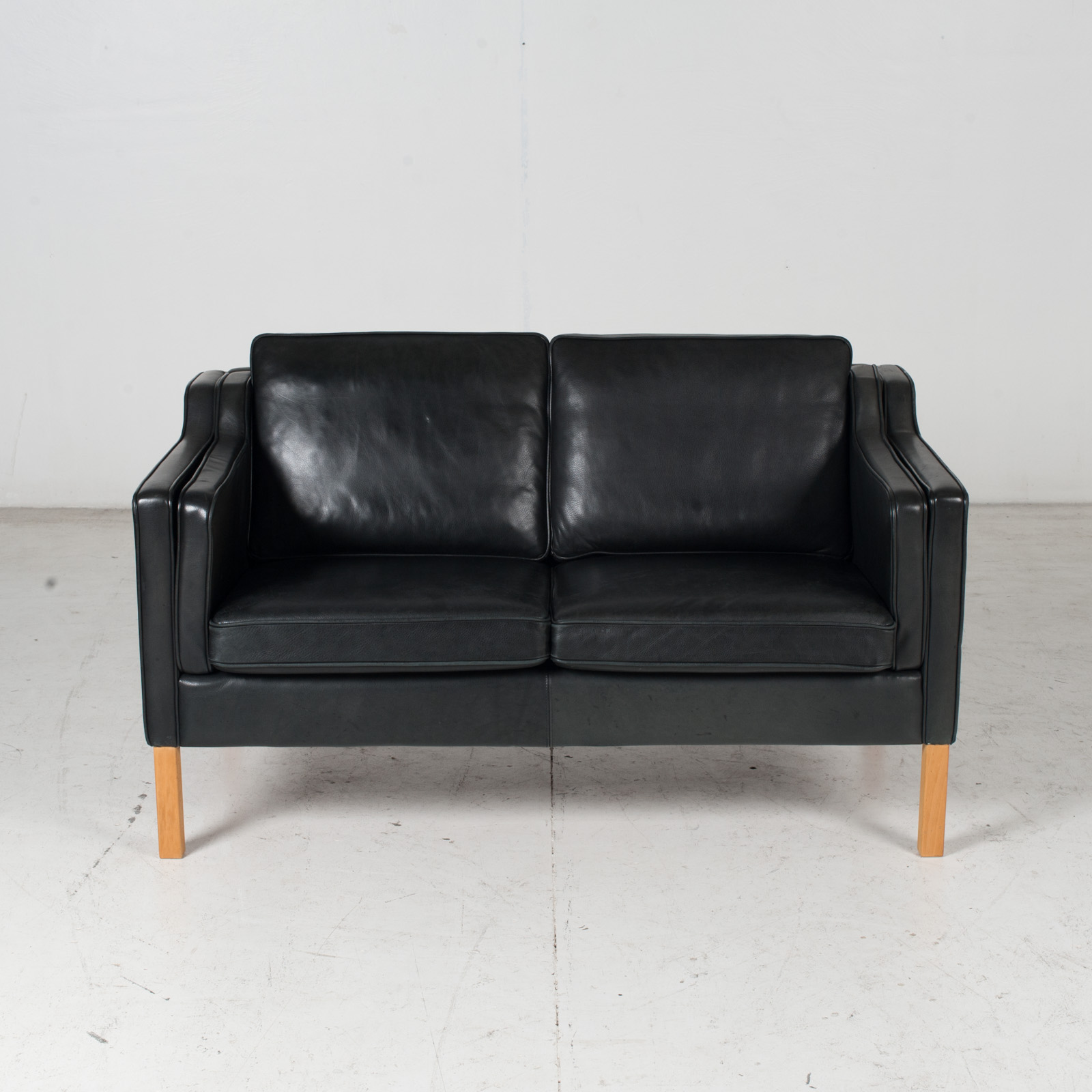 2 Seat Sofa By Stouby In Black Leather, 1960s, Denmark 2