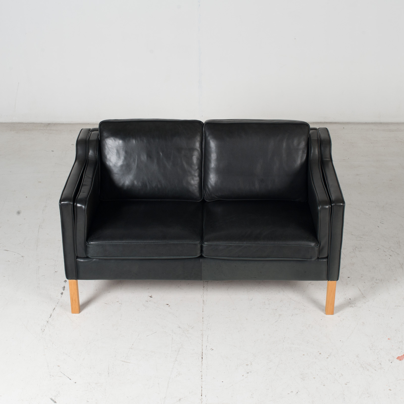 2 Seat Sofa By Stouby In Black Leather, 1960s, Denmark 3