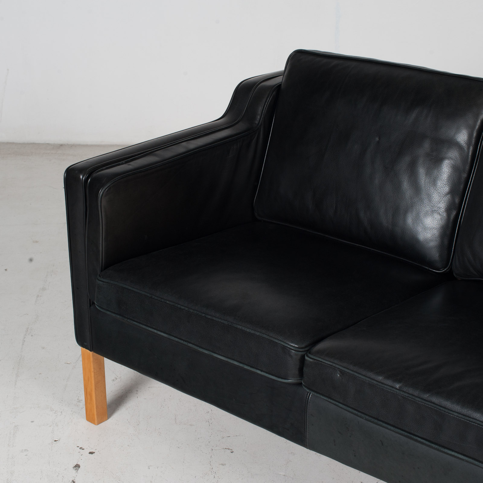 2 Seat Sofa By Stouby In Black Leather, 1960s, Denmark 5