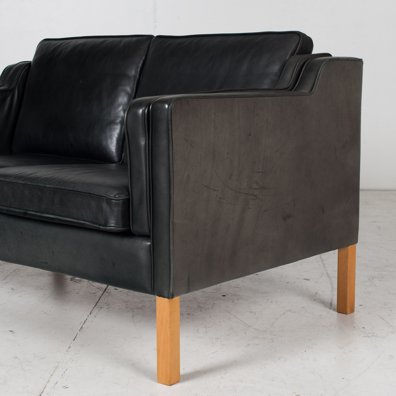 2 Seat Sofa By Stouby In Black Leather, 1960s, Denmark 6