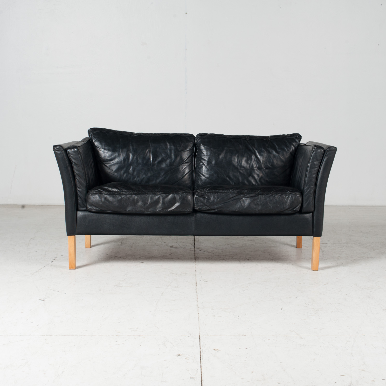 2 Seat Sofa By Stouby In Black Leather With Beech Legs, 1960s, Denmark 1