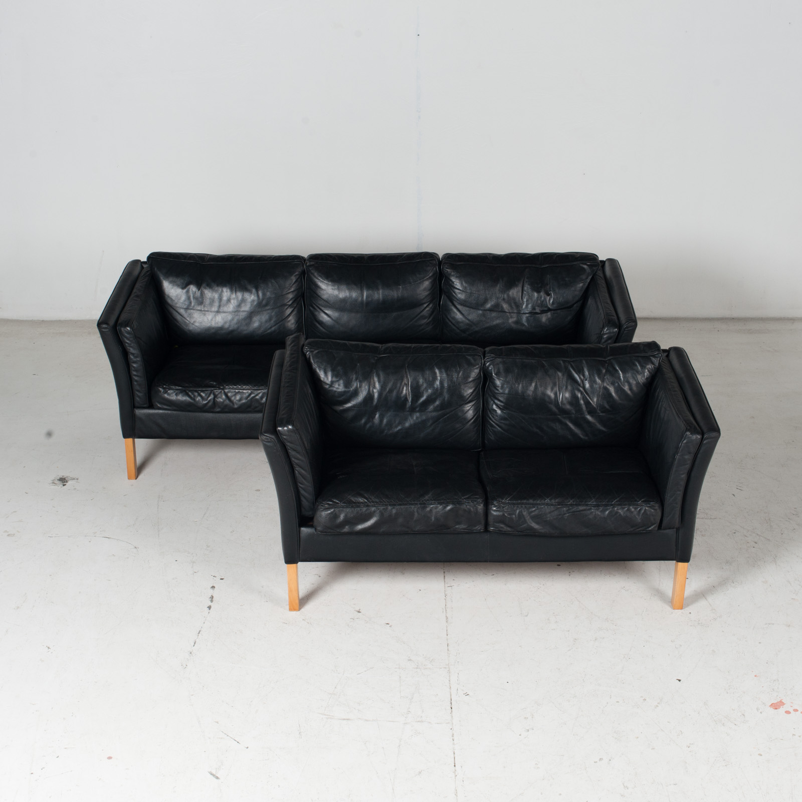 2 Seat Sofa By Stouby In Black Leather With Beech Legs, 1960s, Denmark 1 Copy