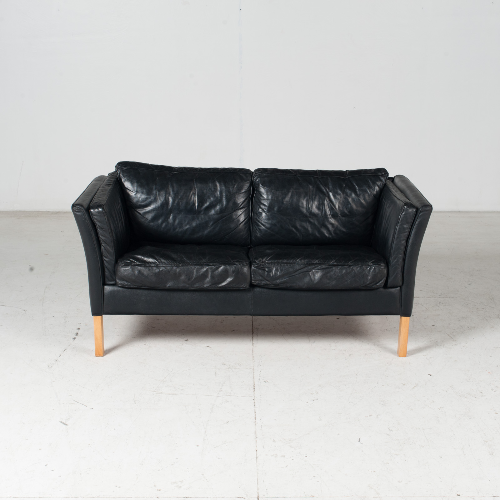 2 Seat Sofa By Stouby In Black Leather With Beech Legs, 1960s, Denmark 2
