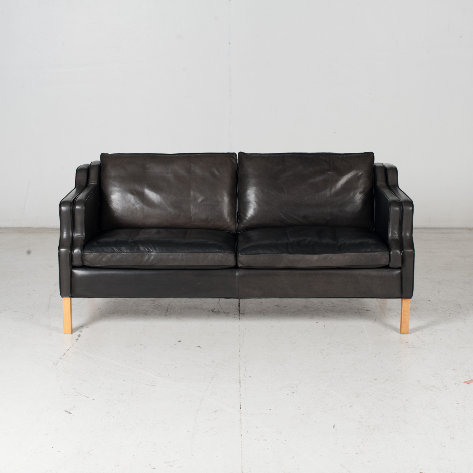 2 Seat Sofa By Stouby In Black Leather With Beech Legs, 1960s, Denmark 3