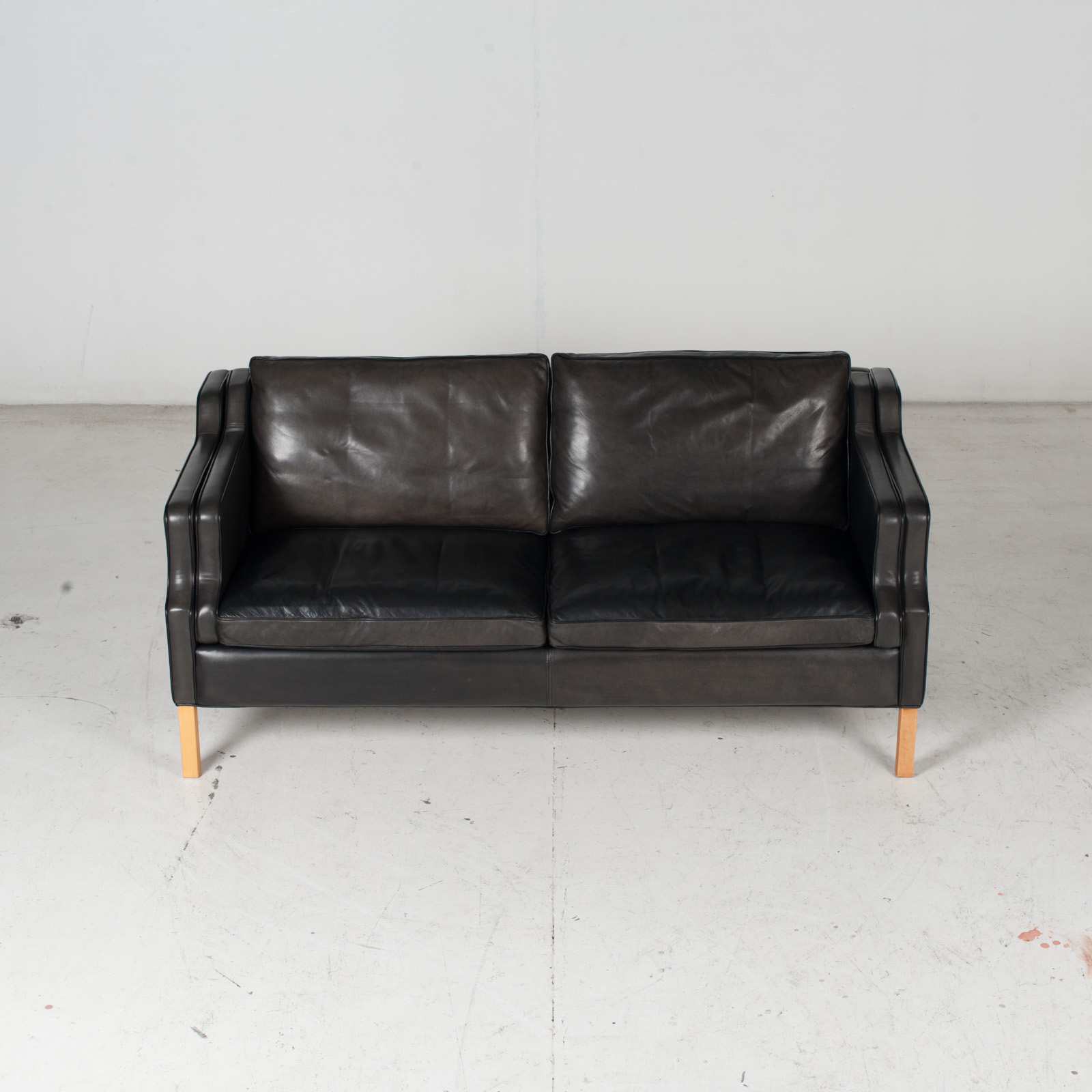 2 Seat Sofa By Stouby In Black Leather With Beech Legs, 1960s, Denmark 4