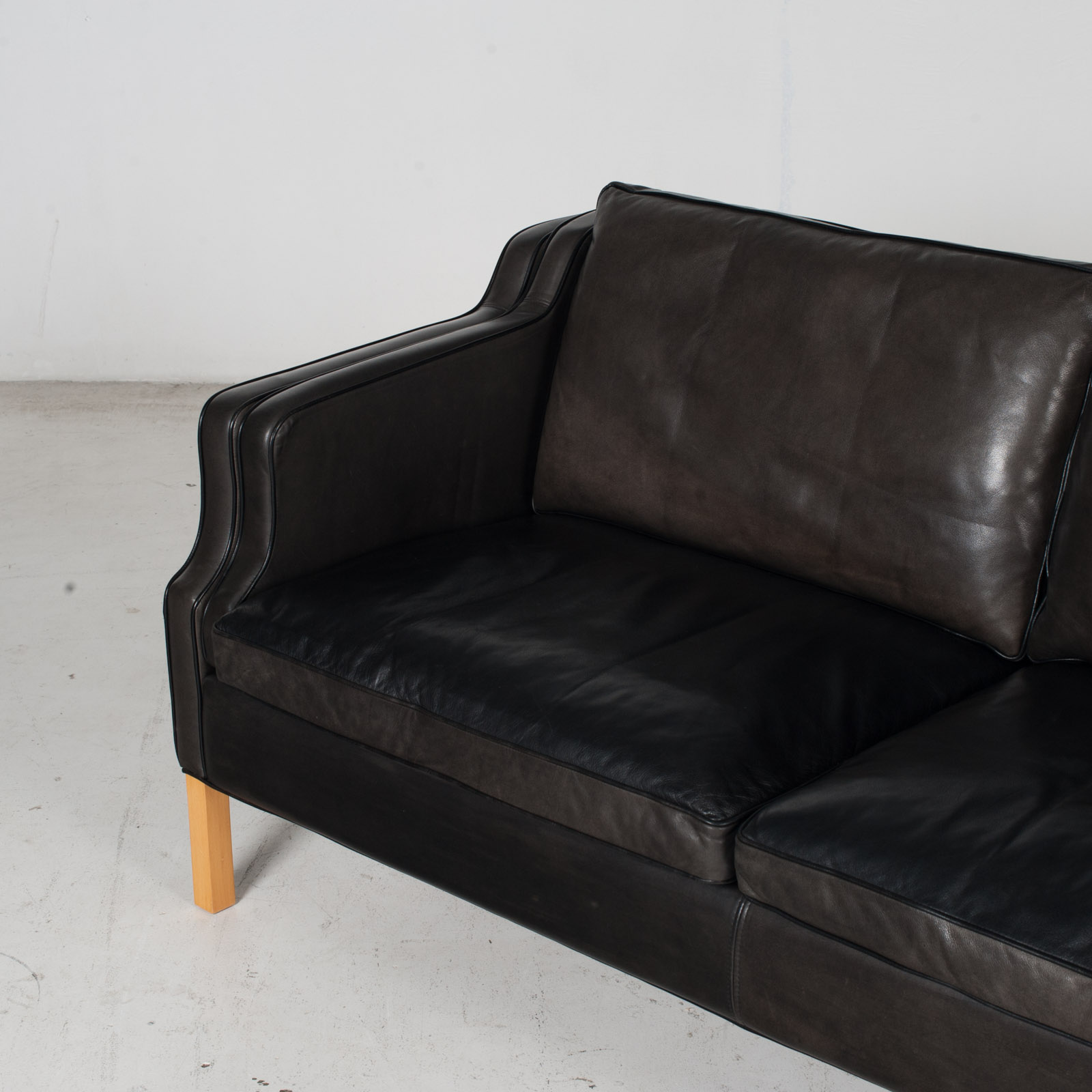 2 Seat Sofa By Stouby In Black Leather With Beech Legs, 1960s, Denmark 6