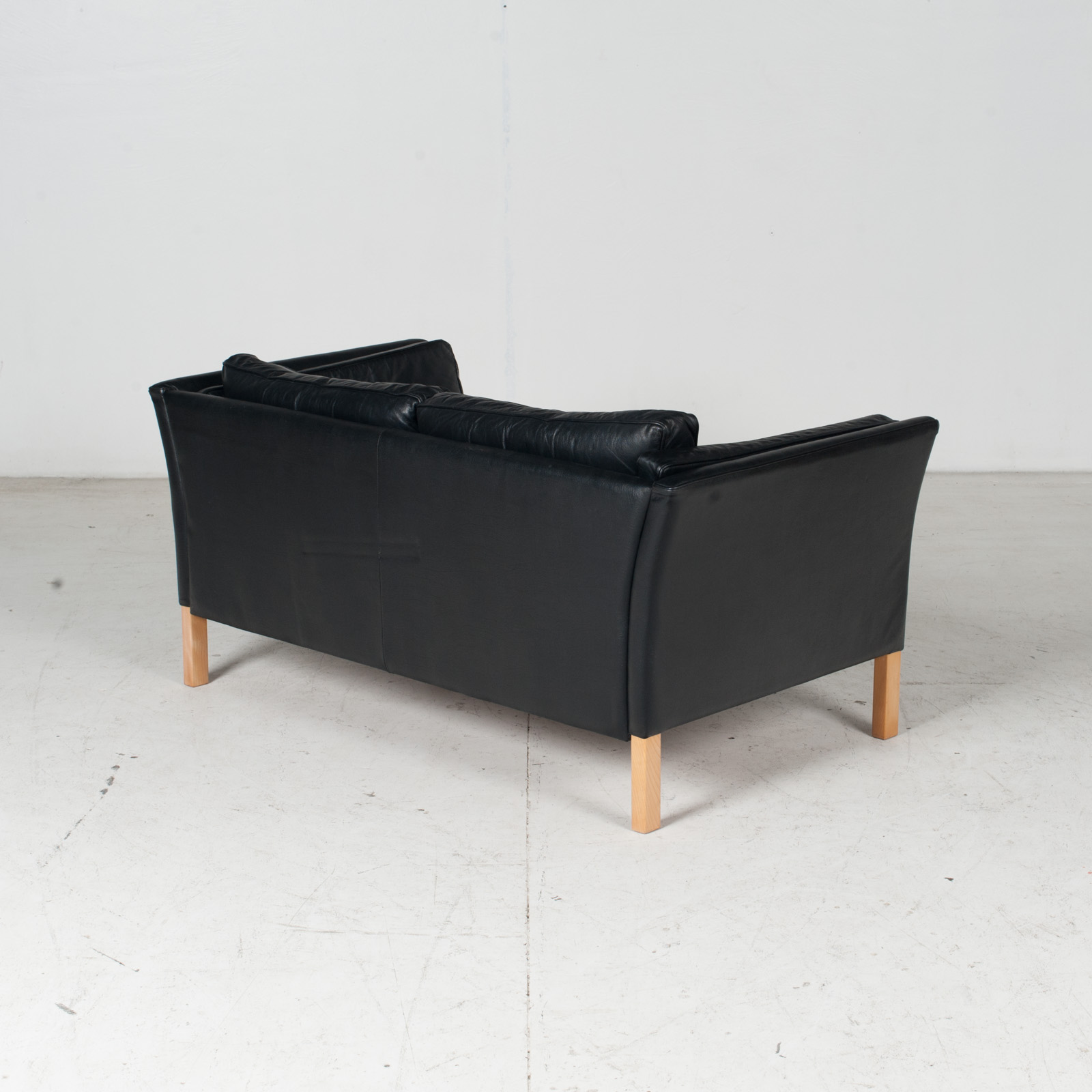 2 Seat Sofa By Stouby In Black Leather With Beech Legs, 1960s, Denmark 7