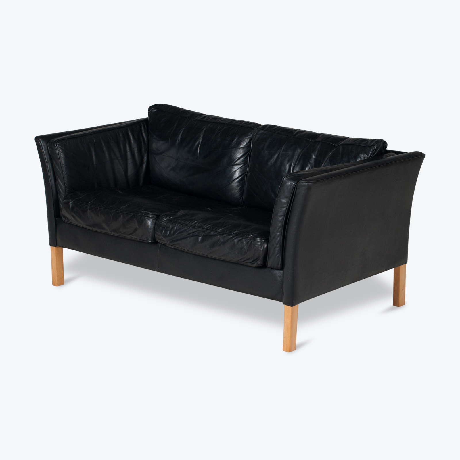 2 Seat Sofa By Stouby In Black Leather With Beech Legs, 1960s, Denmark Hero