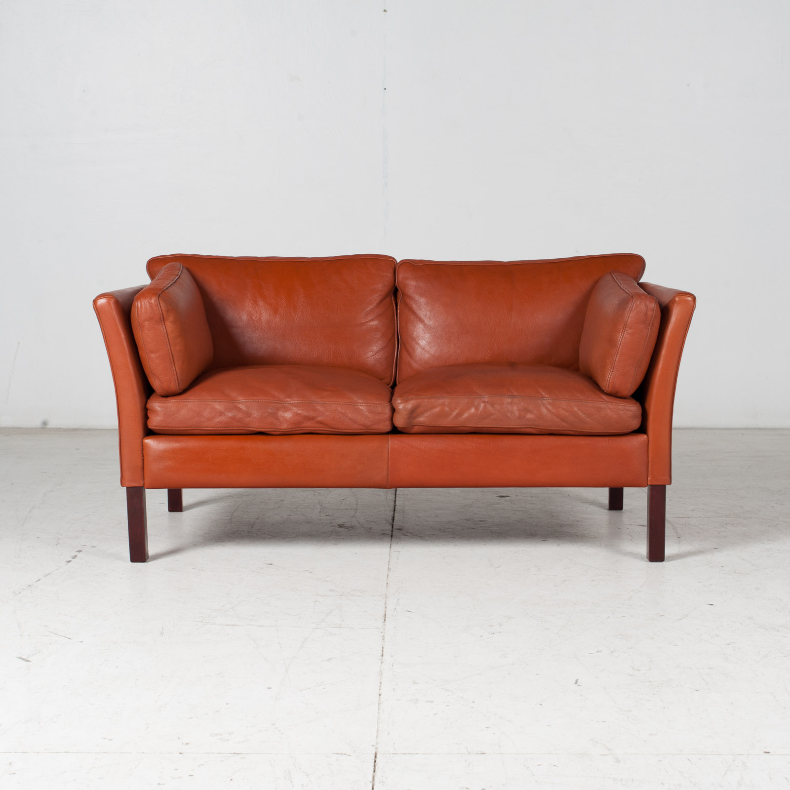 2 Seat Sofa By Stouby In Tan Leather, 1960s, Denmark 1