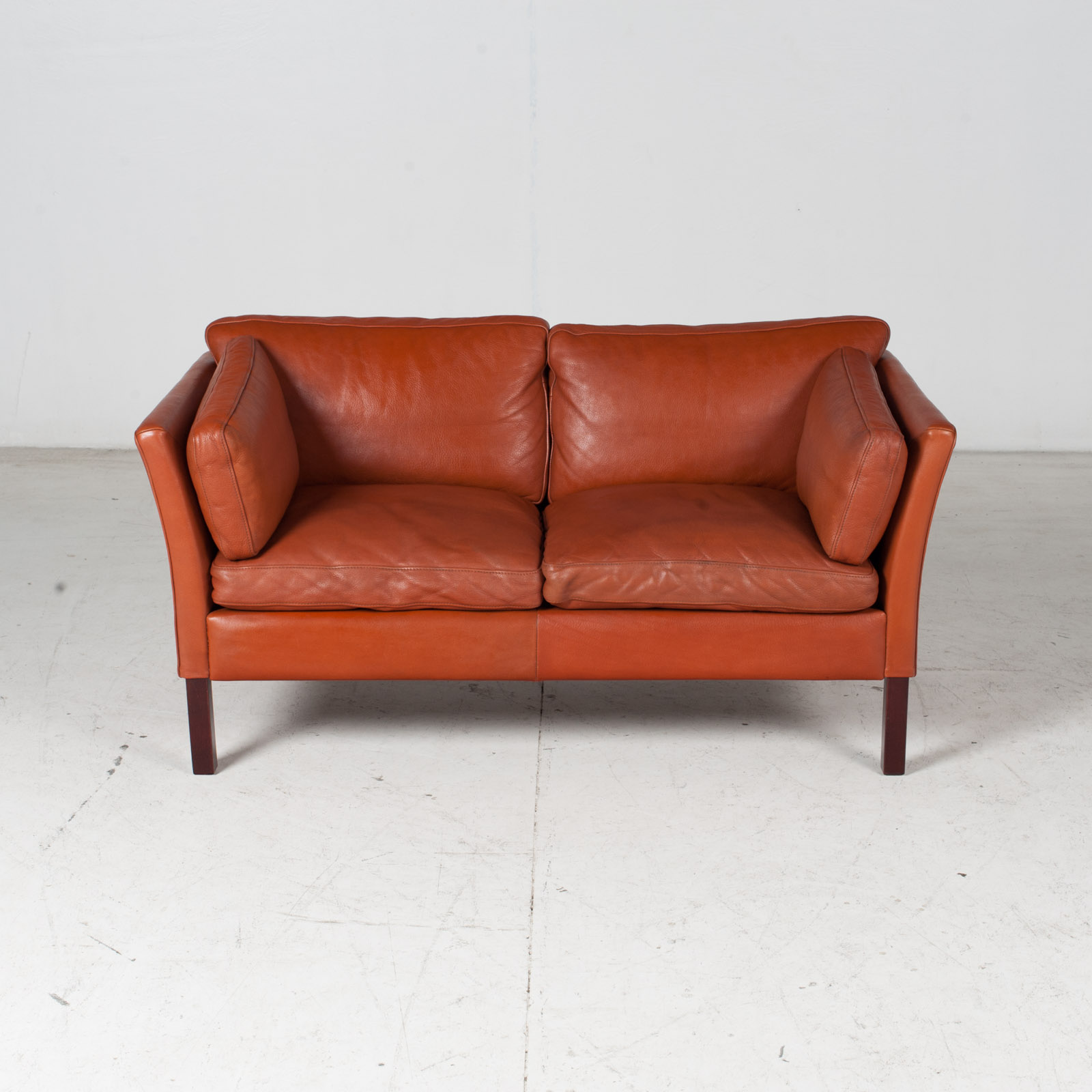 2 Seat Sofa By Stouby In Tan Leather, 1960s, Denmark 2