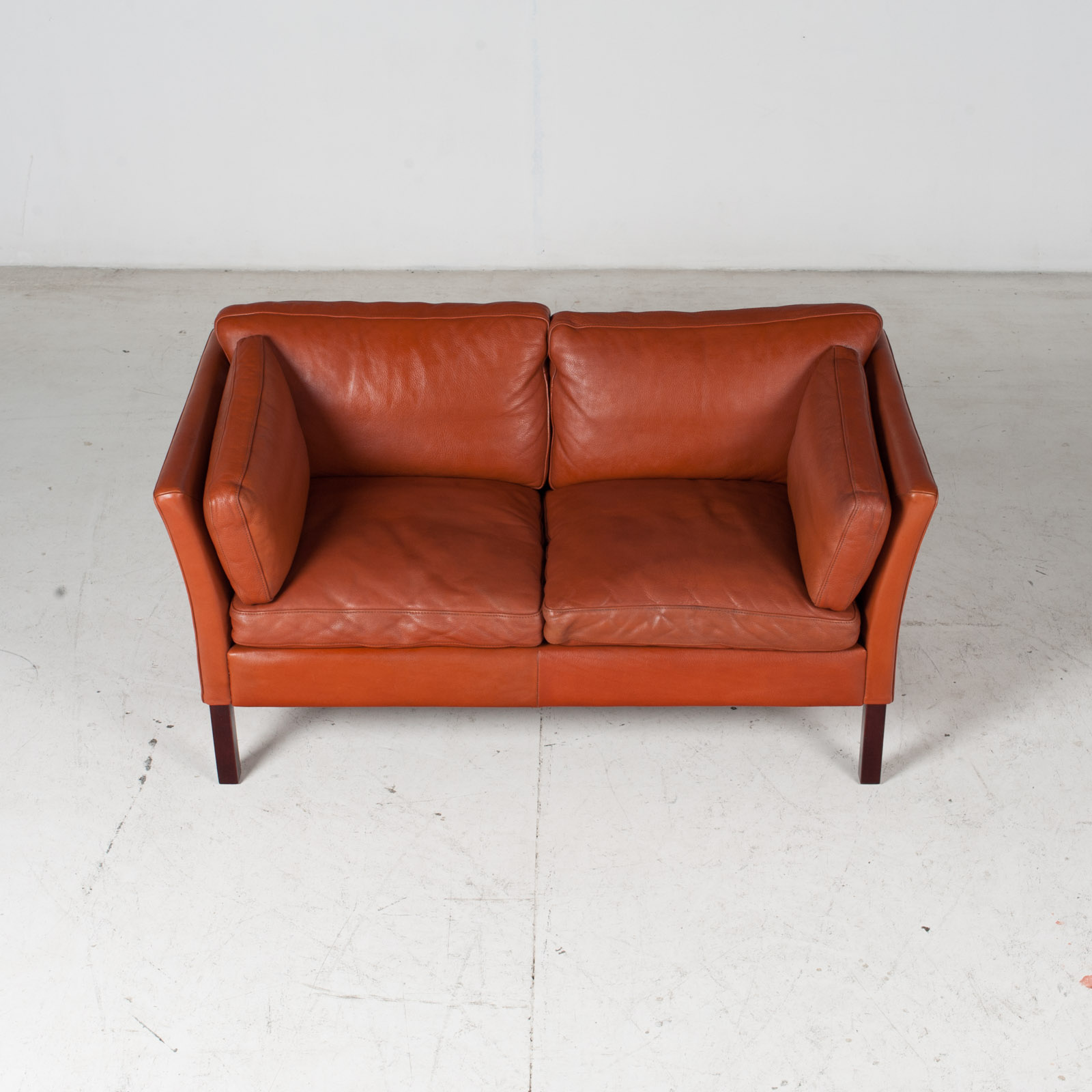 2 Seat Sofa By Stouby In Tan Leather, 1960s, Denmark 3