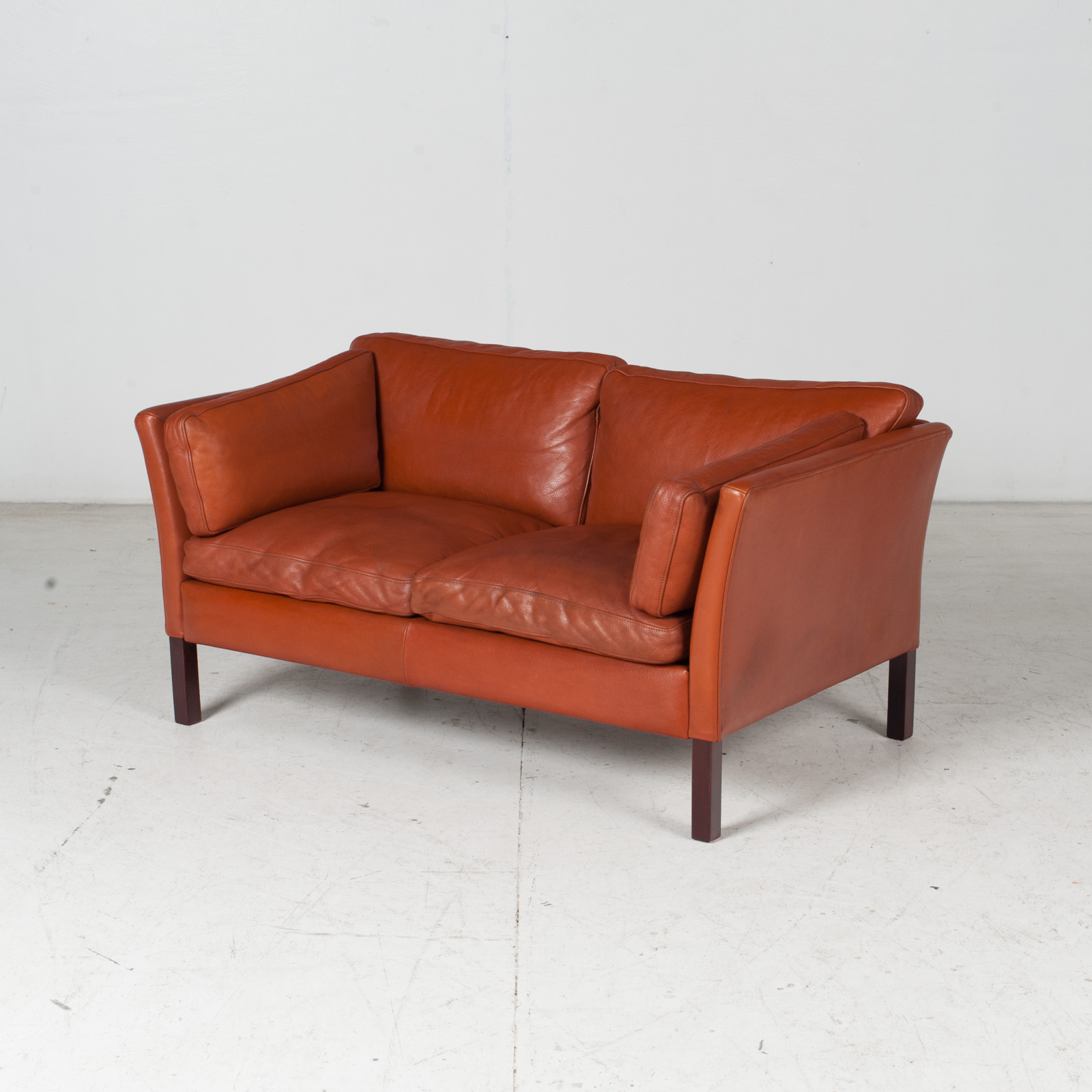 2 Seat Sofa By Stouby In Tan Leather, 1960s, Denmark 4