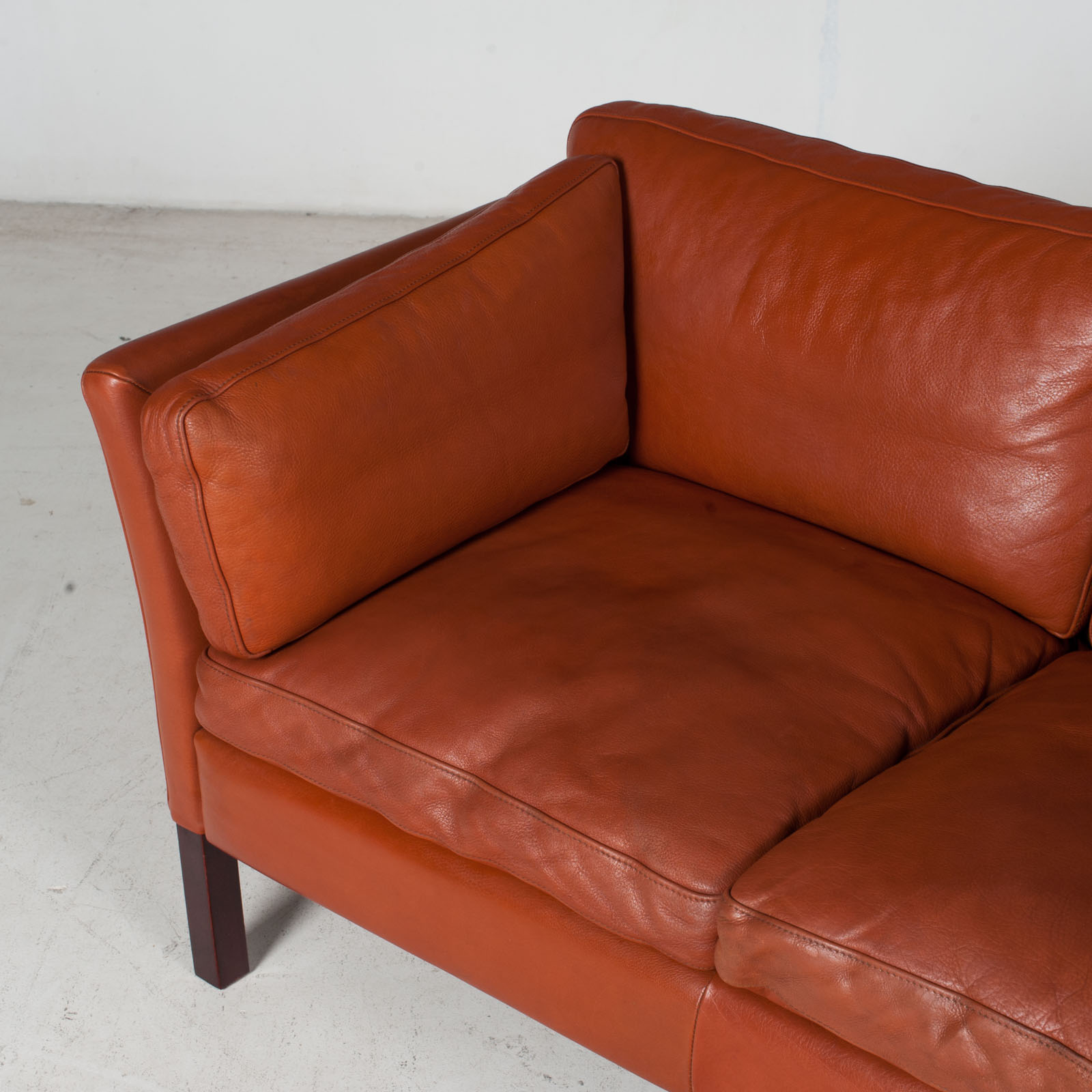 2 Seat Sofa By Stouby In Tan Leather, 1960s, Denmark 5