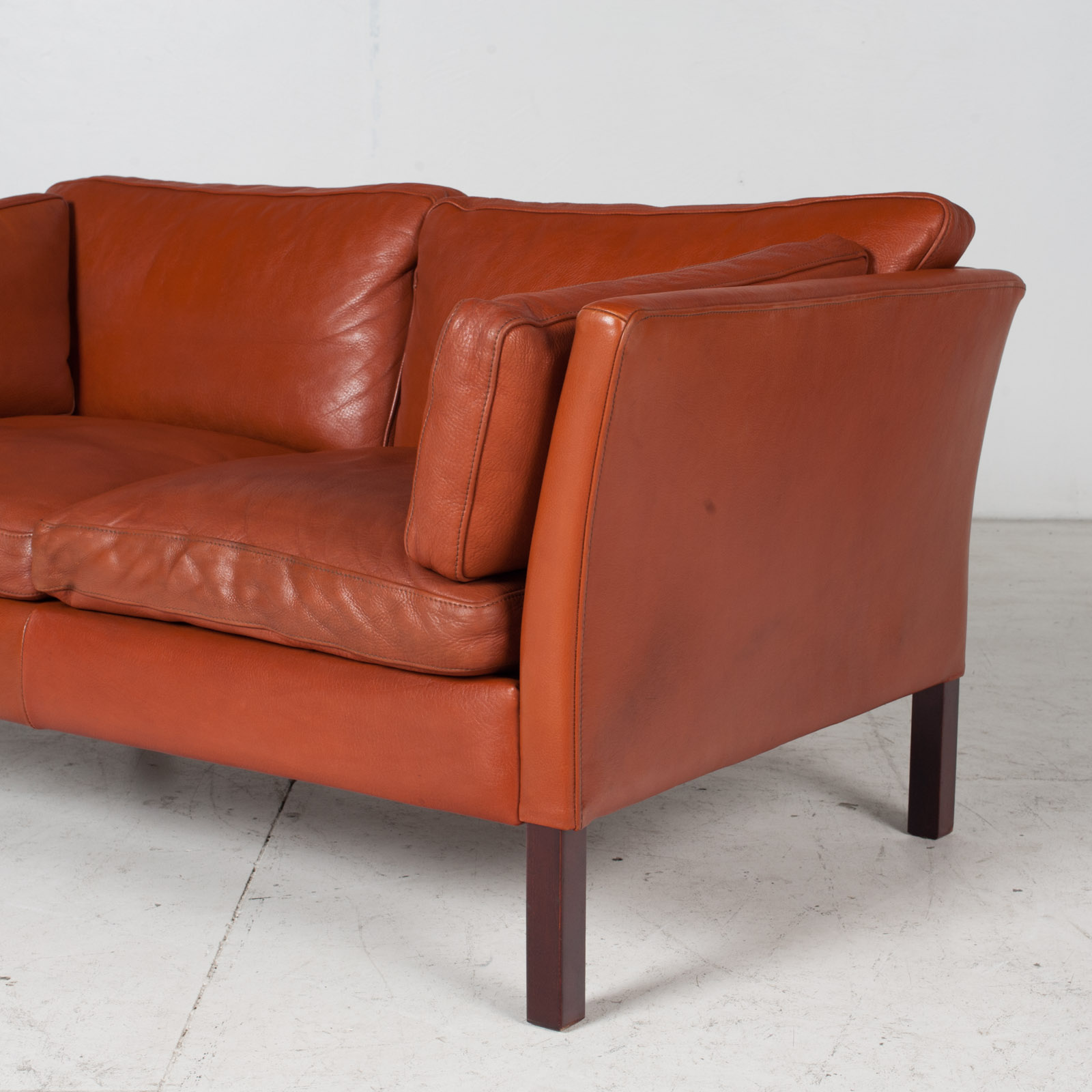 2 Seat Sofa By Stouby In Tan Leather, 1960s, Denmark 6