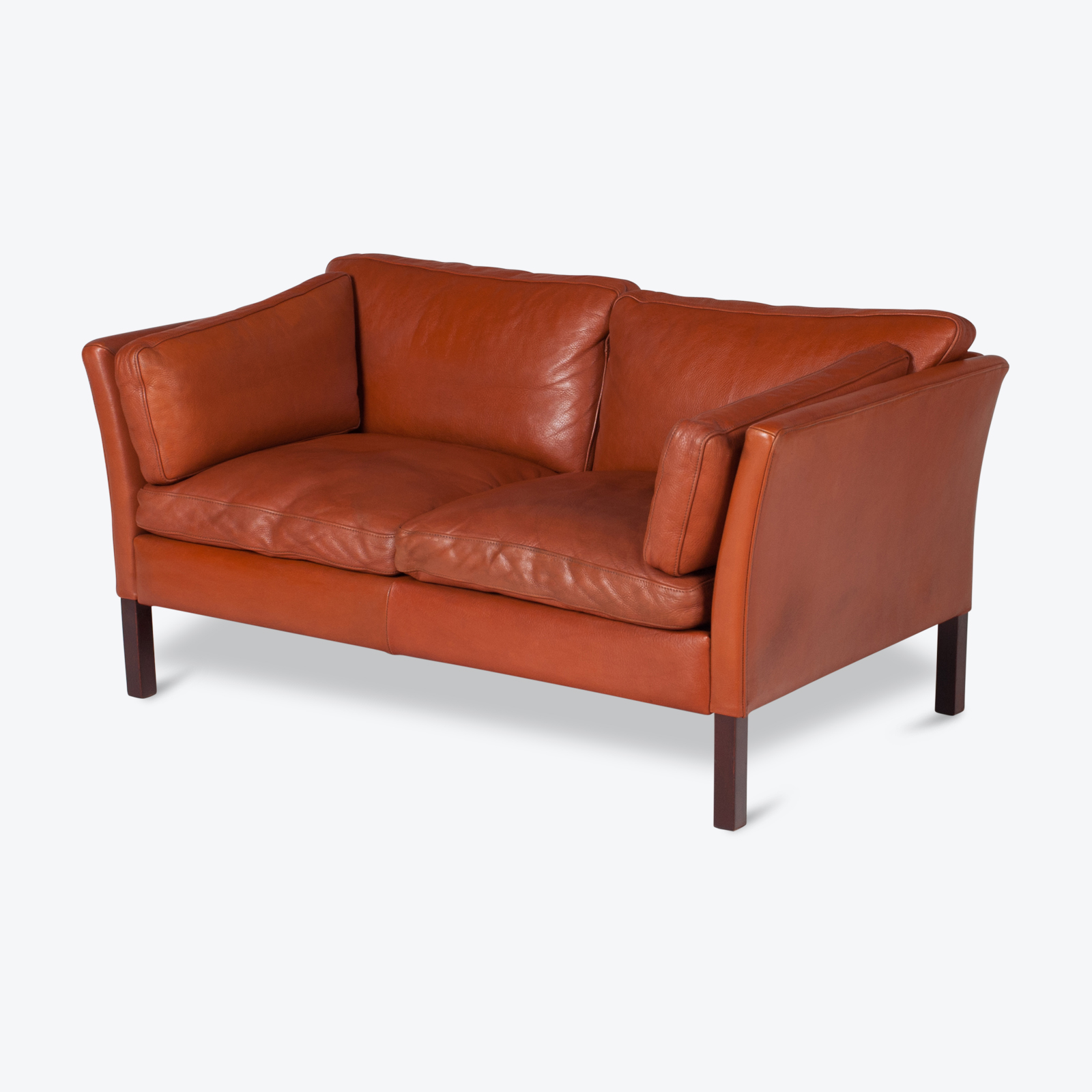 2 Seat Sofa By Stouby In Tan Leather, 1960s, Denmark Hero 1