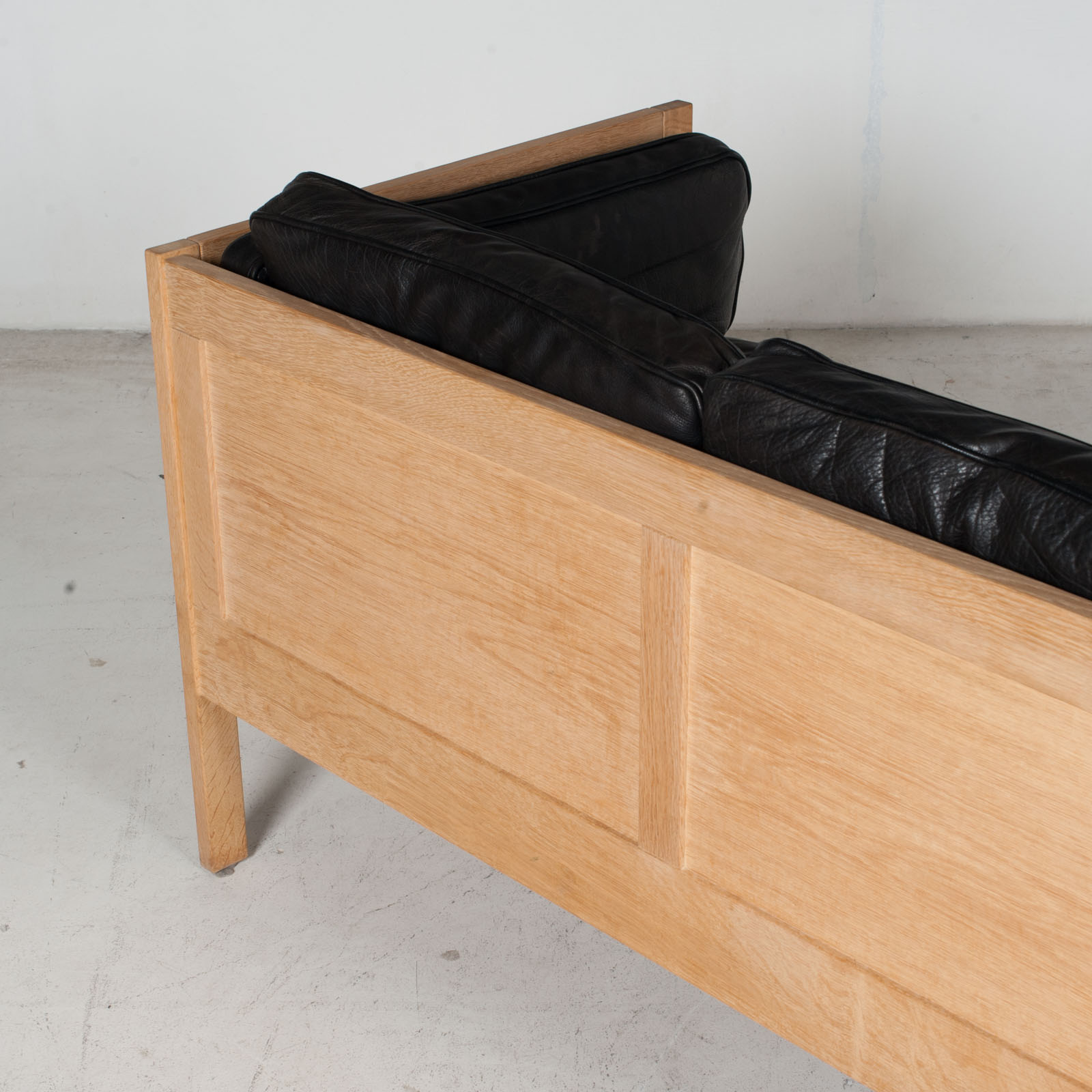 3 Seat Sofa By Borge Mogensen For Frederica In Black Leather And Oak, 1960s, Denmark 13