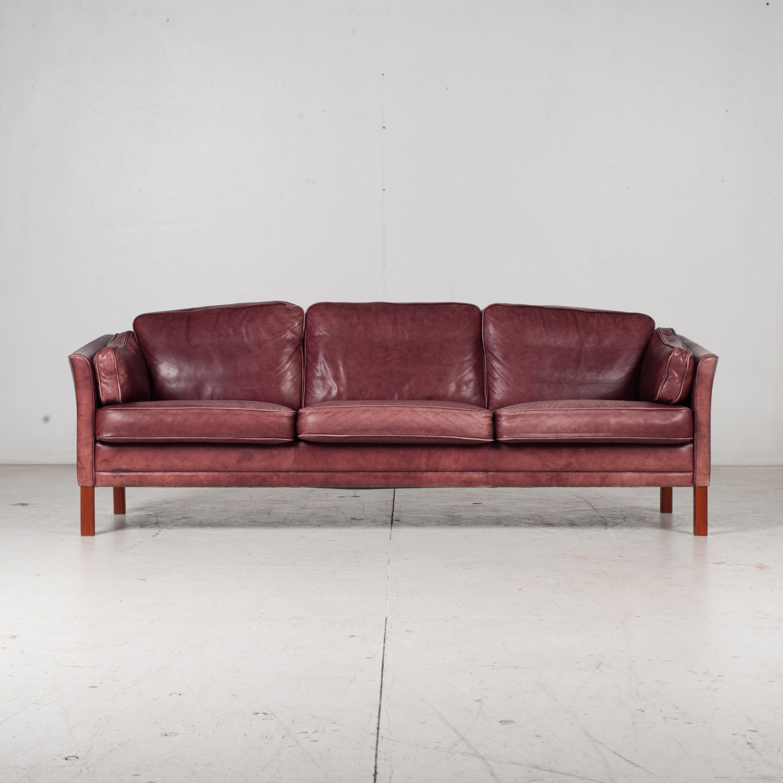 3 Seat Sofa By Mogens Hansen In Red Leather, 1960s, Denmark 1