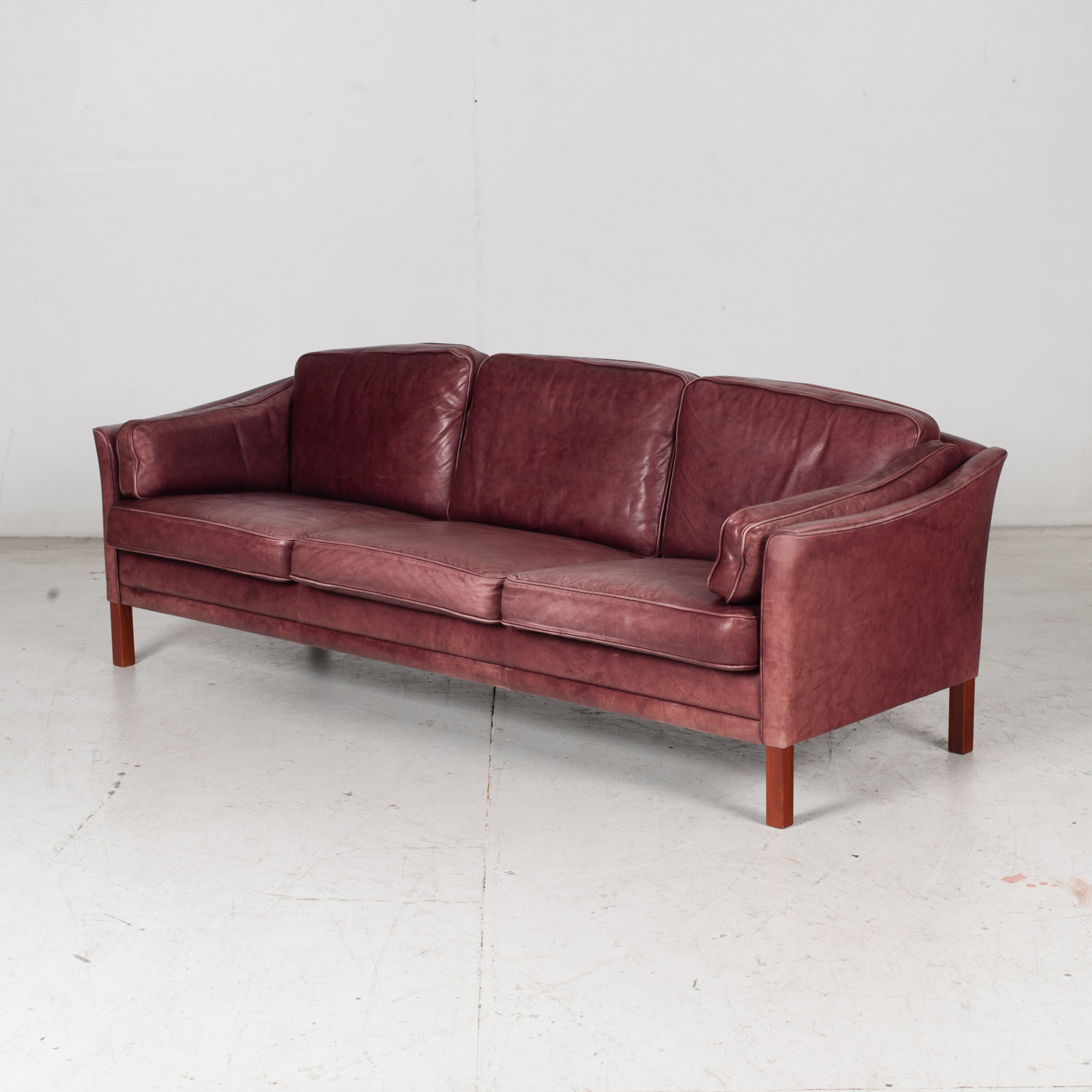 3 Seat Sofa By Mogens Hansen In Red Leather, 1960s, Denmark 4