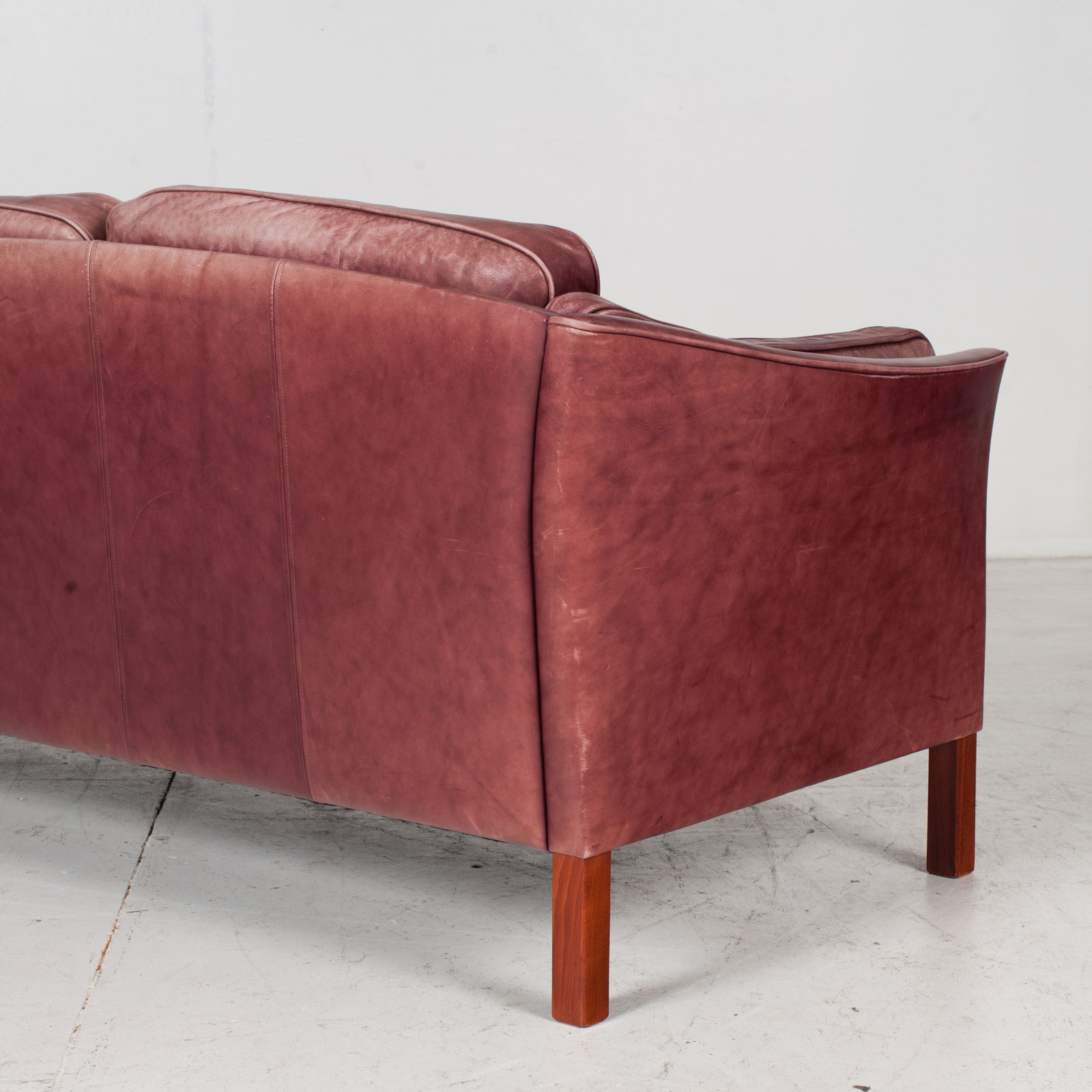 3 Seat Sofa By Mogens Hansen In Red Leather, 1960s, Denmark 8