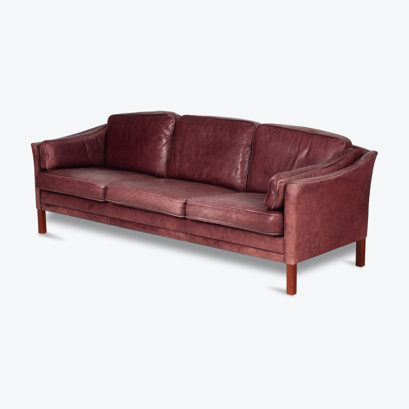 3 Seat Sofa By Mogens Hansen In Red Leather, 1960s, Denmark Hero