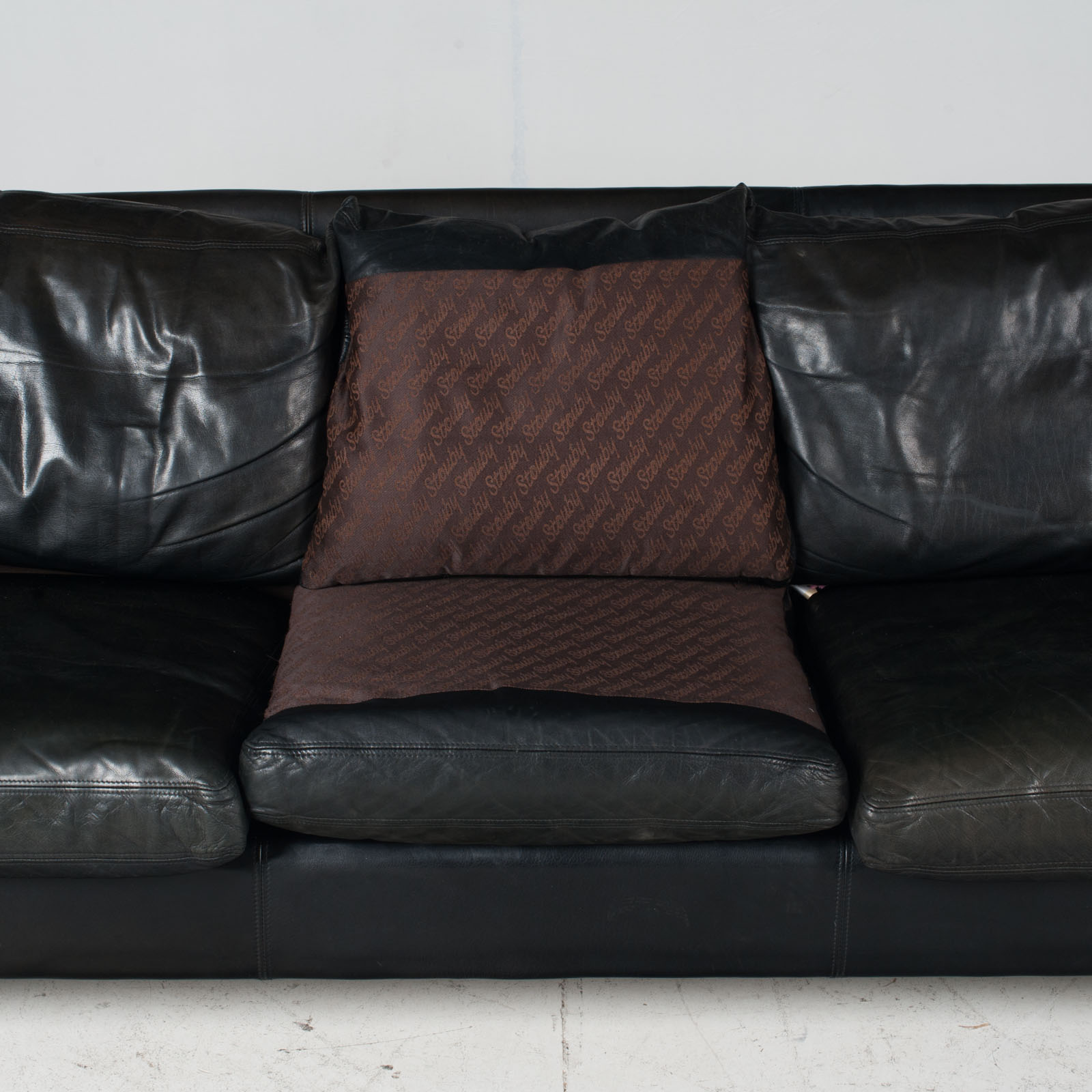 3 Seat Sofa By Stouby In Black Leather, 1960s, Denmark 1