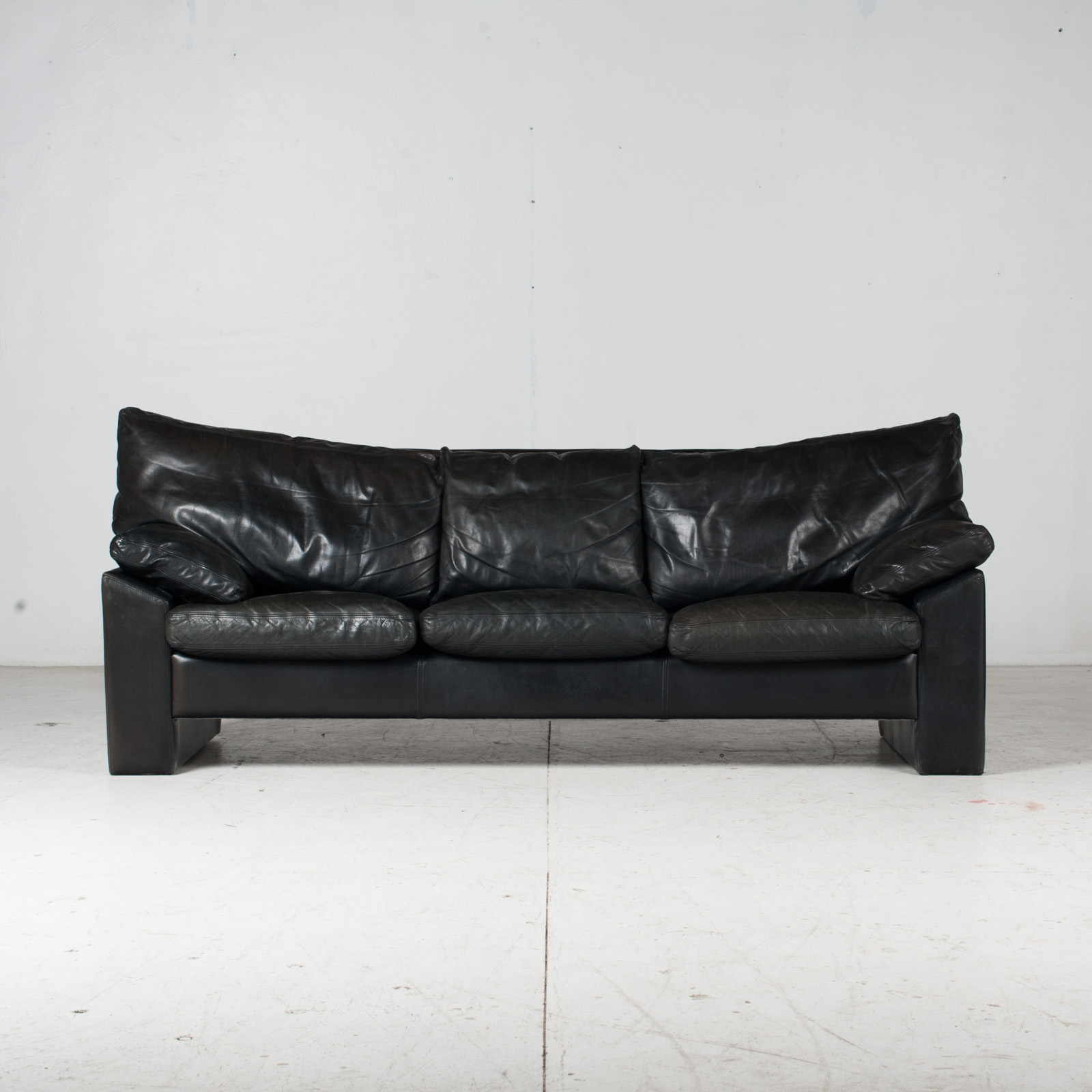 3 Seat Sofa By Stouby In Black Leather, 1960s, Denmark 2