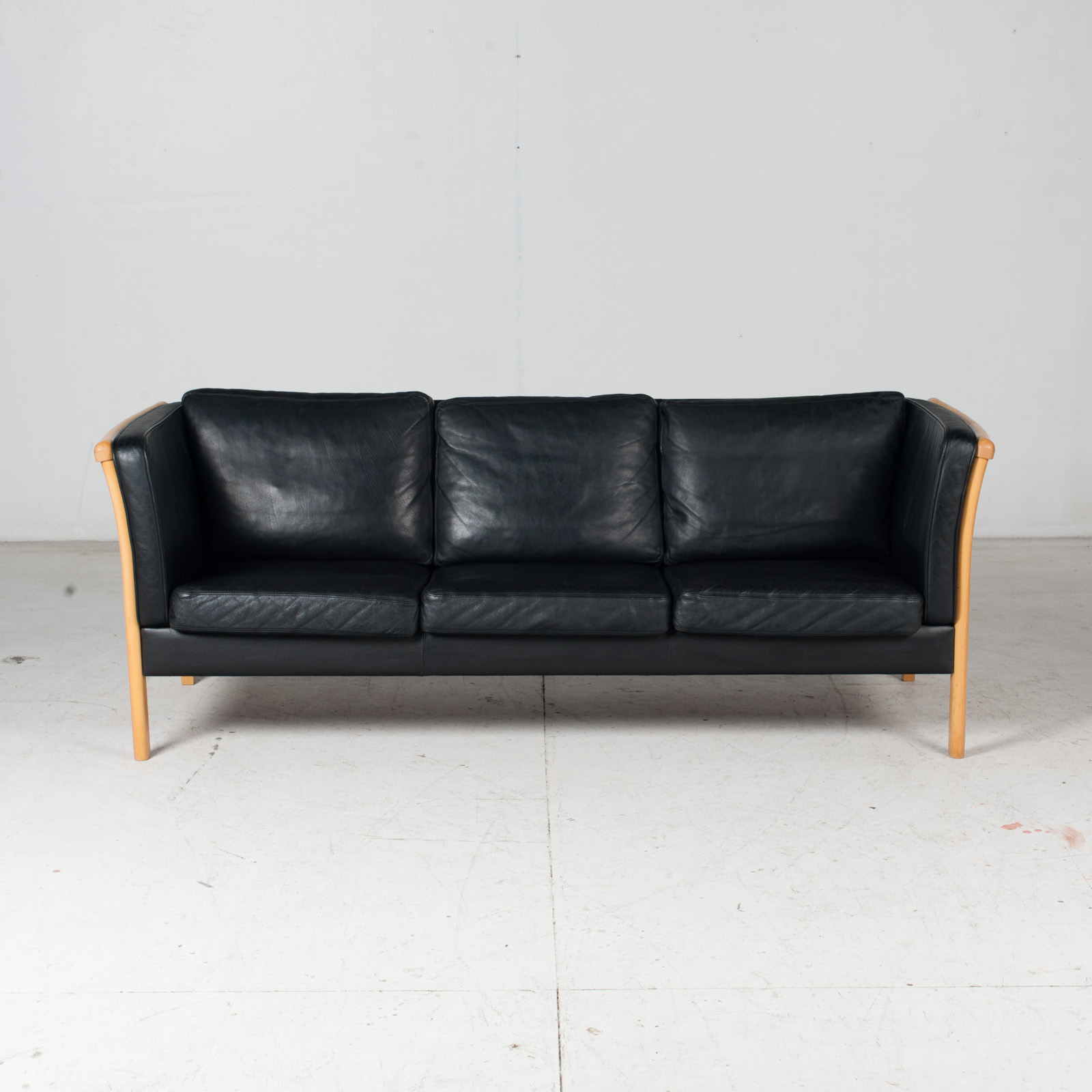 3 Seat Sofa By Stouby In Black Leather, 1960s, Denmark 3