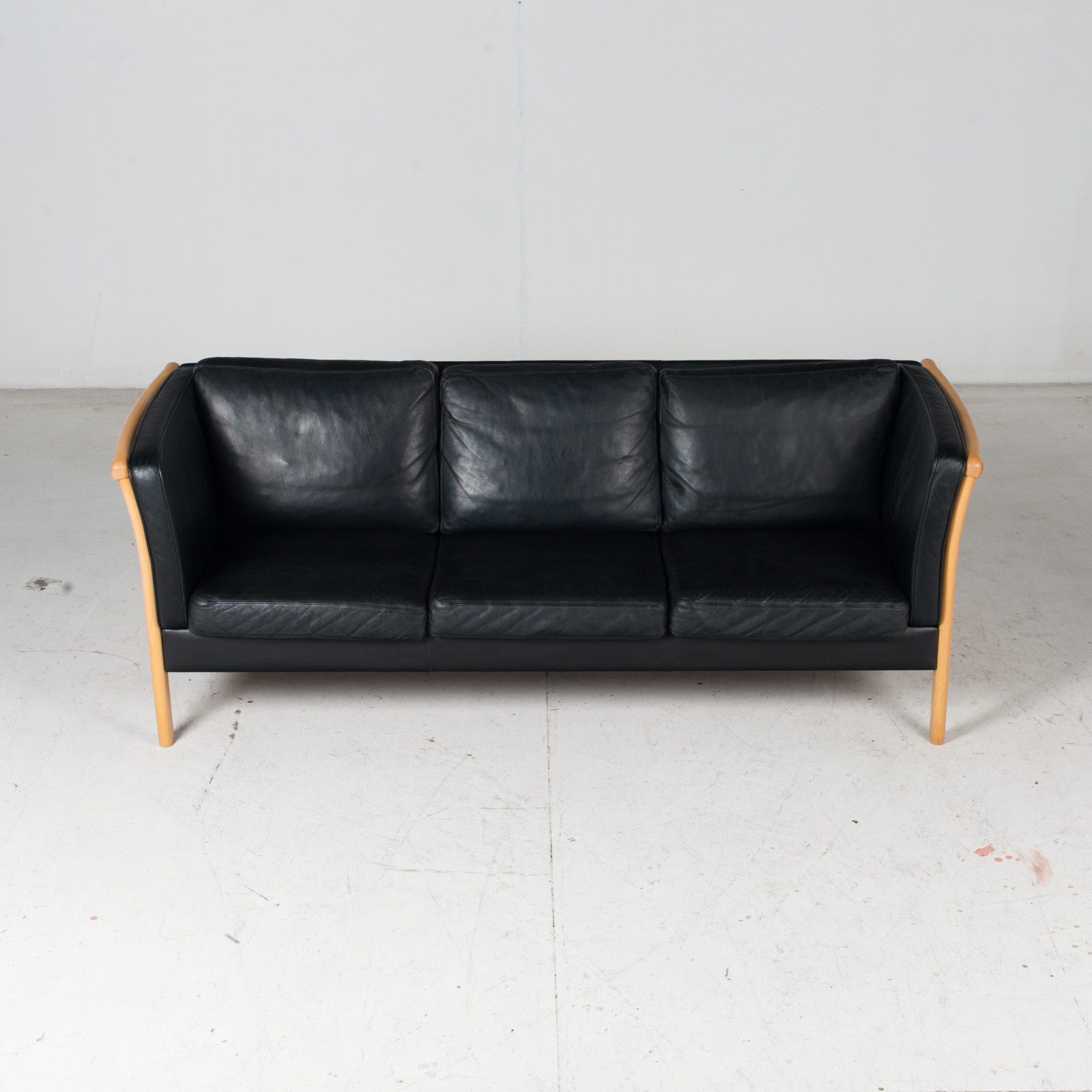 3 Seat Sofa By Stouby In Black Leather, 1960s, Denmark 4