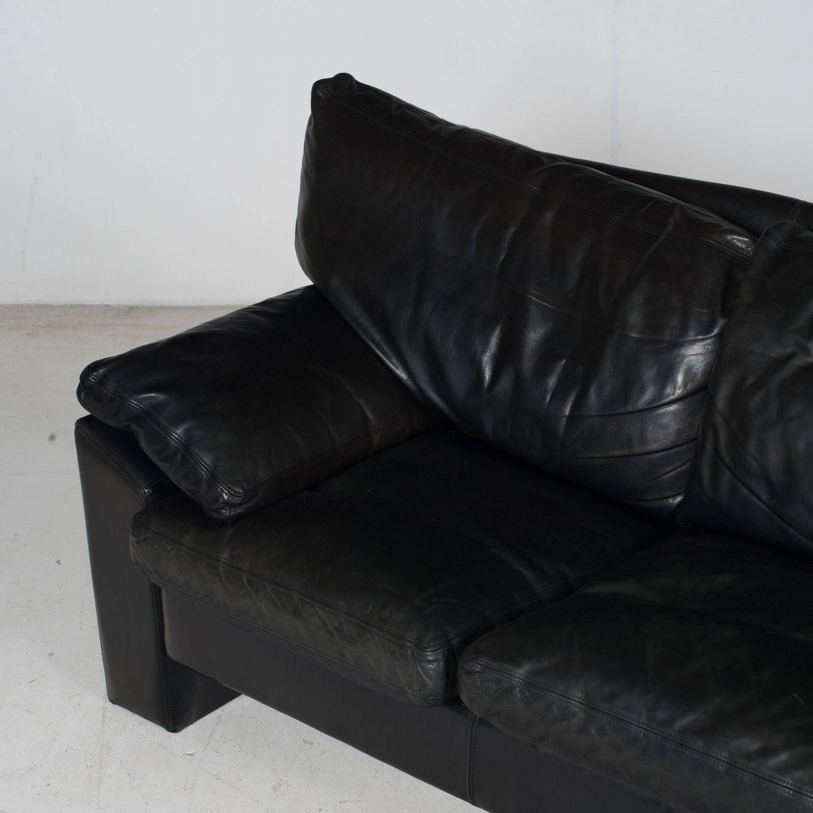3 Seat Sofa By Stouby In Black Leather, 1960s, Denmark 6