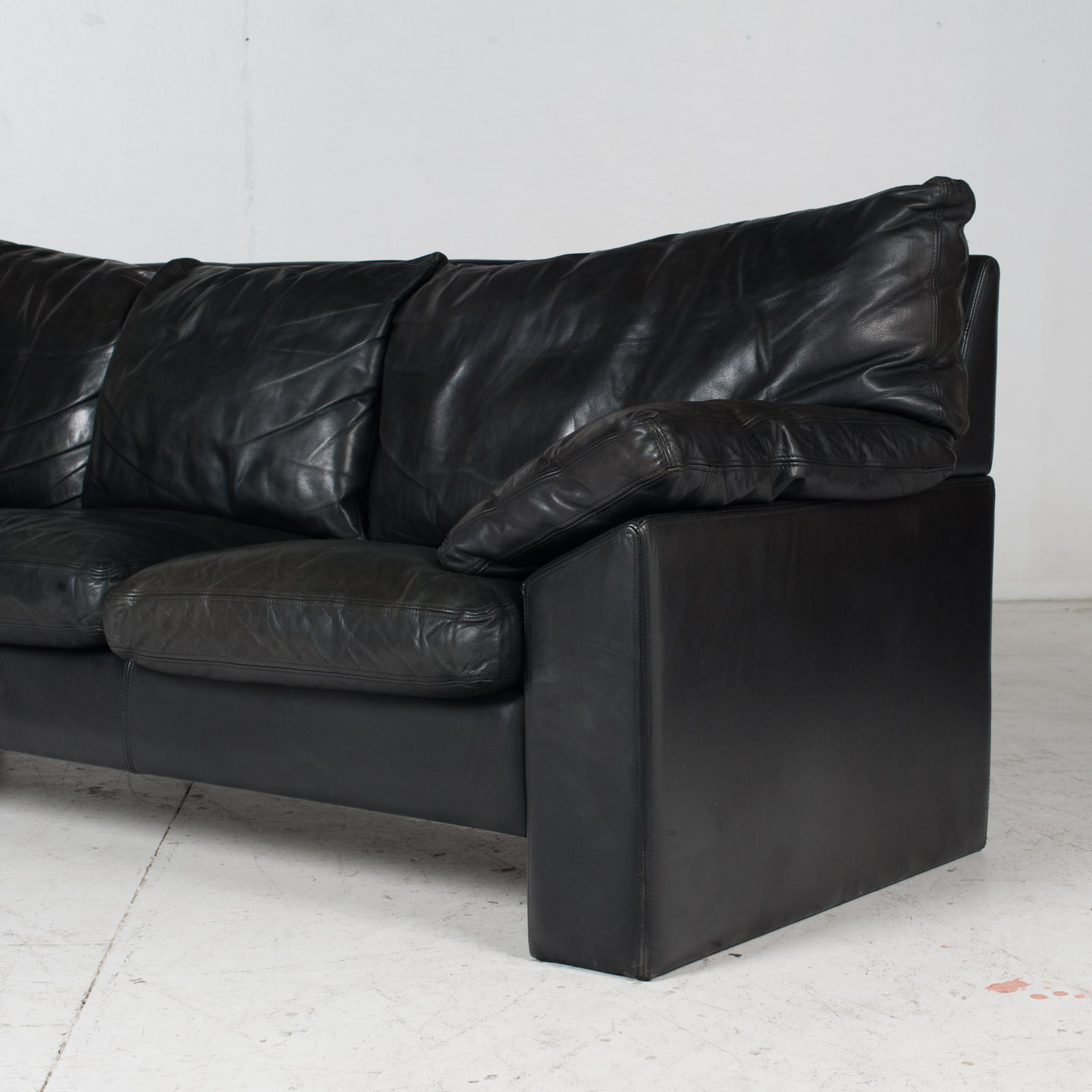 3 Seat Sofa By Stouby In Black Leather, 1960s, Denmark 7