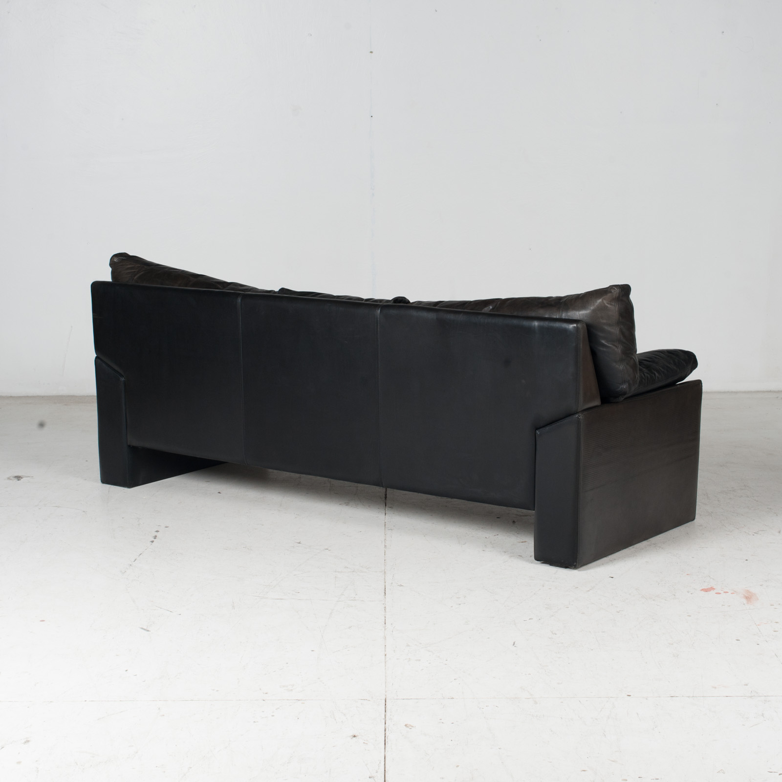 3 Seat Sofa By Stouby In Black Leather, 1960s, Denmark 8
