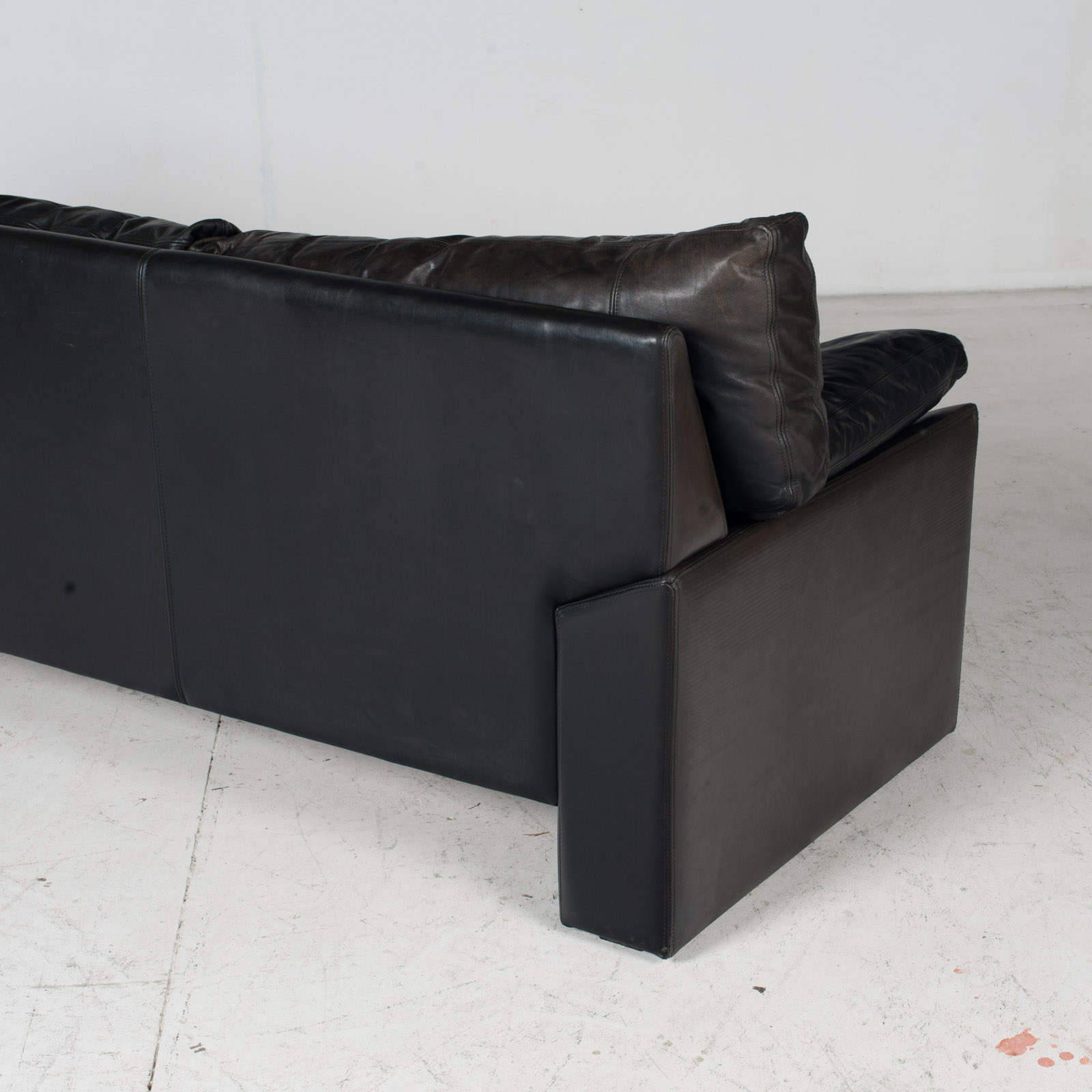 3 Seat Sofa By Stouby In Black Leather, 1960s, Denmark 9