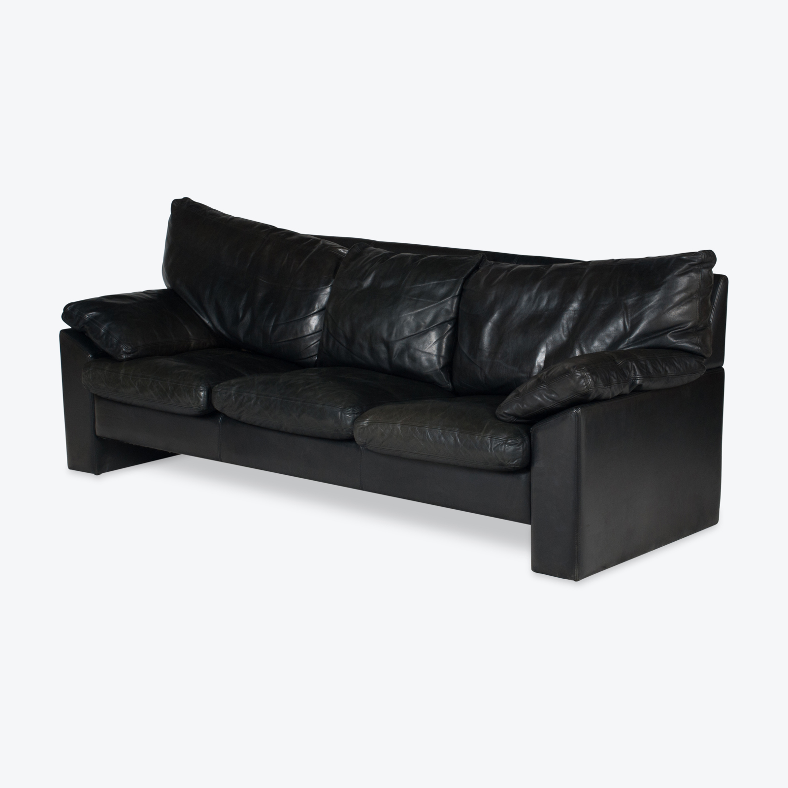 3 Seat Sofa By Stouby In Black Leather, 1960s, Denmark Hero 1