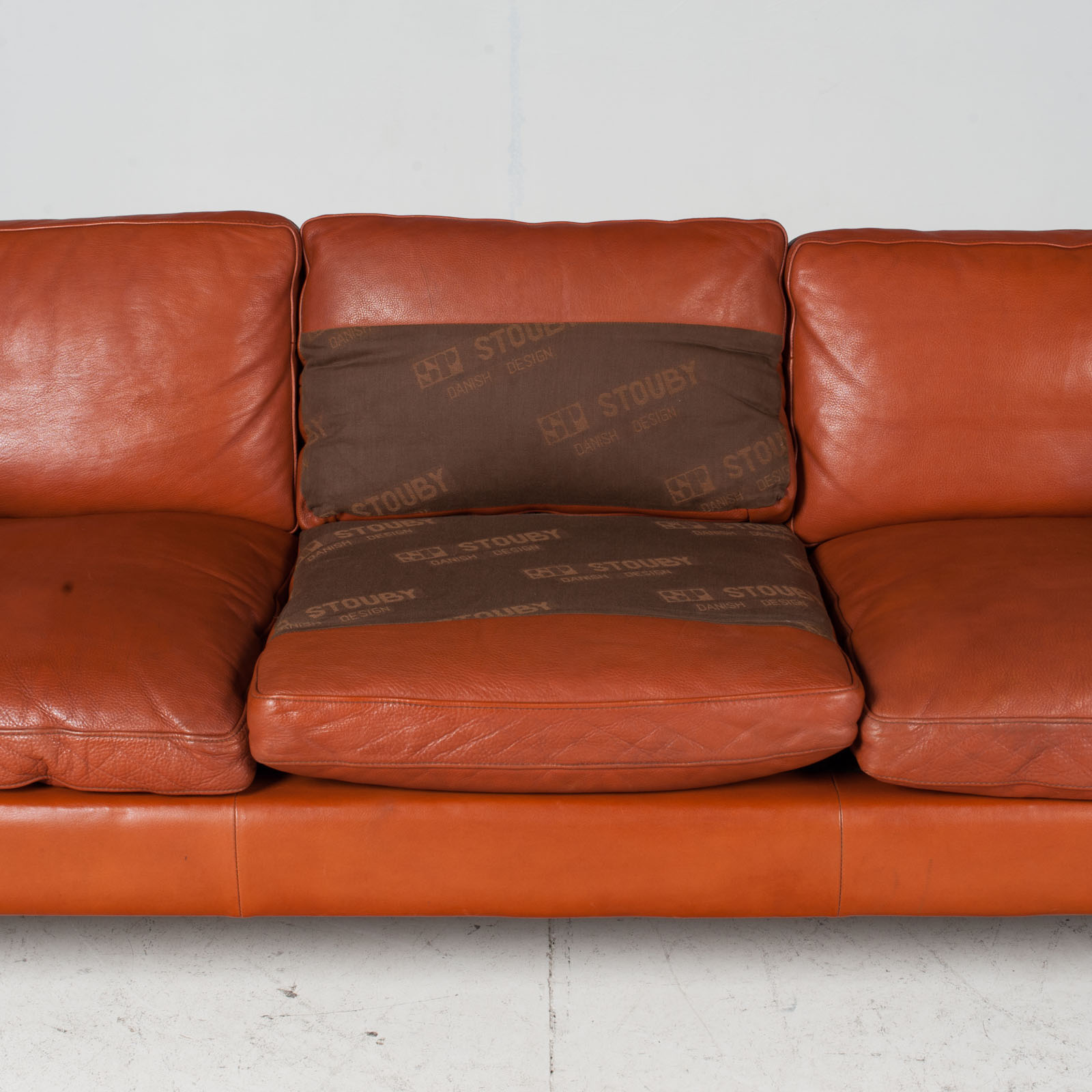3 Seat Sofa By Stouby In Tan Leather, 1960s, Denmark 1