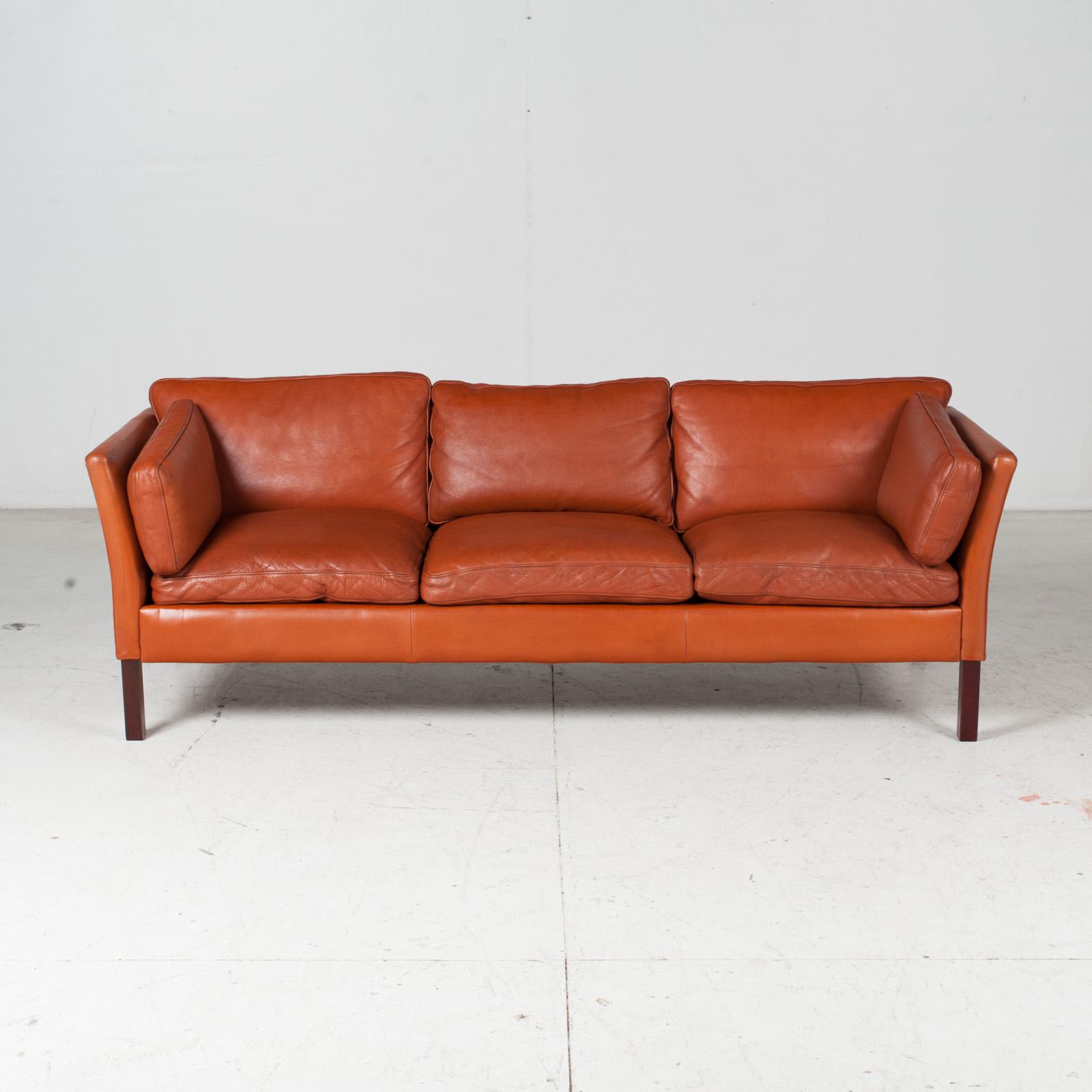 3 Seat Sofa By Stouby In Tan Leather, 1960s, Denmark 3