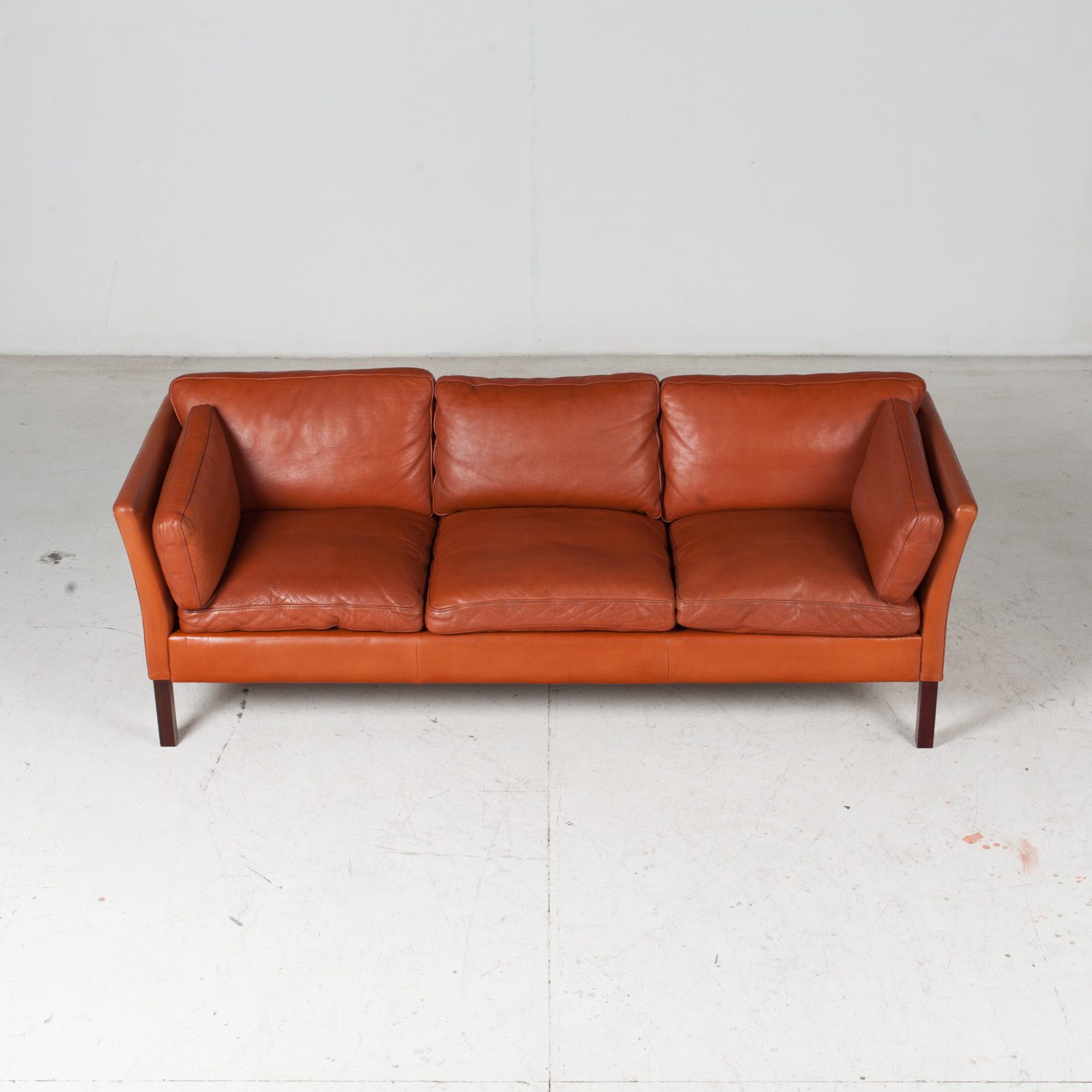 3 Seat Sofa By Stouby In Tan Leather, 1960s, Denmark 4