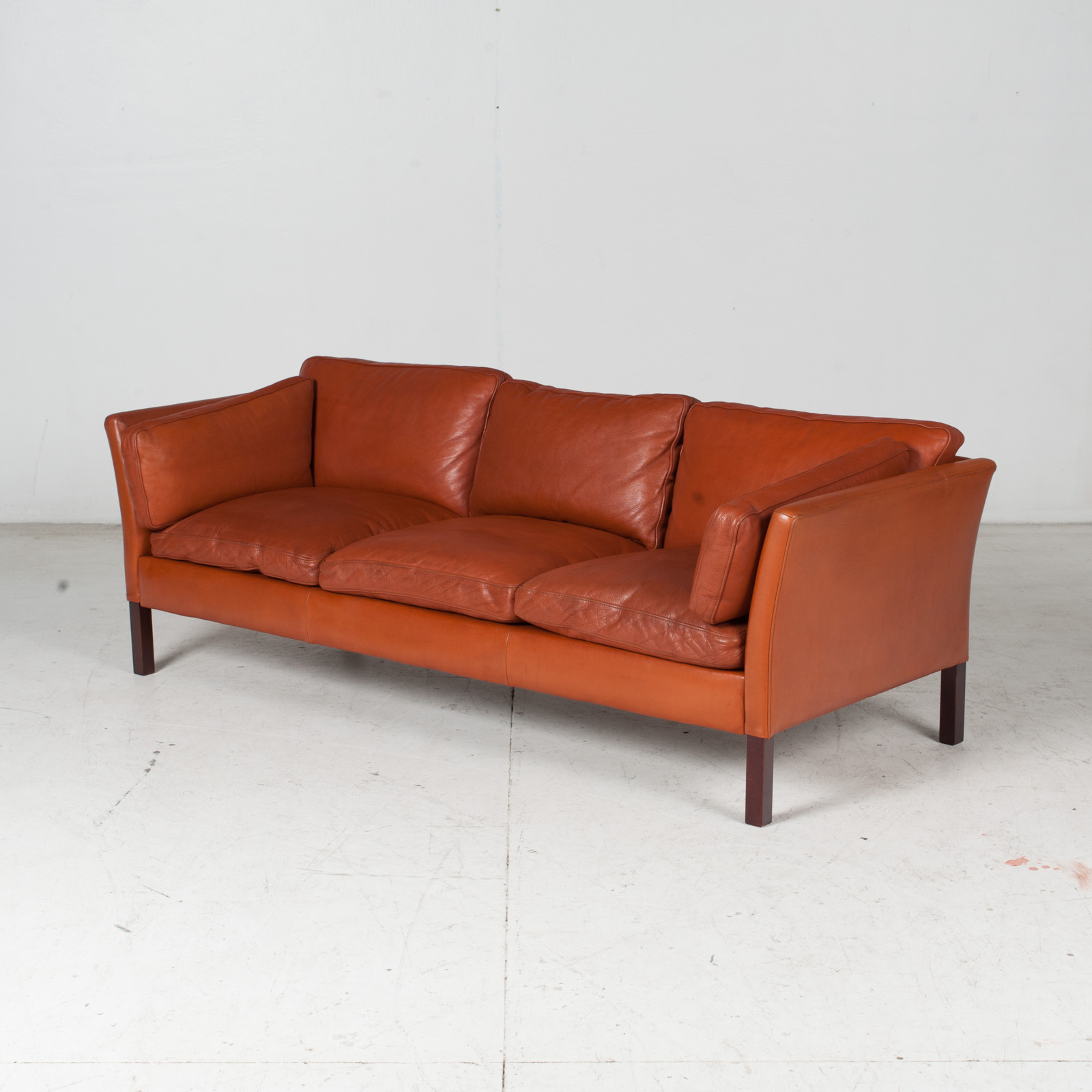 3 Seat Sofa By Stouby In Tan Leather, 1960s, Denmark 5