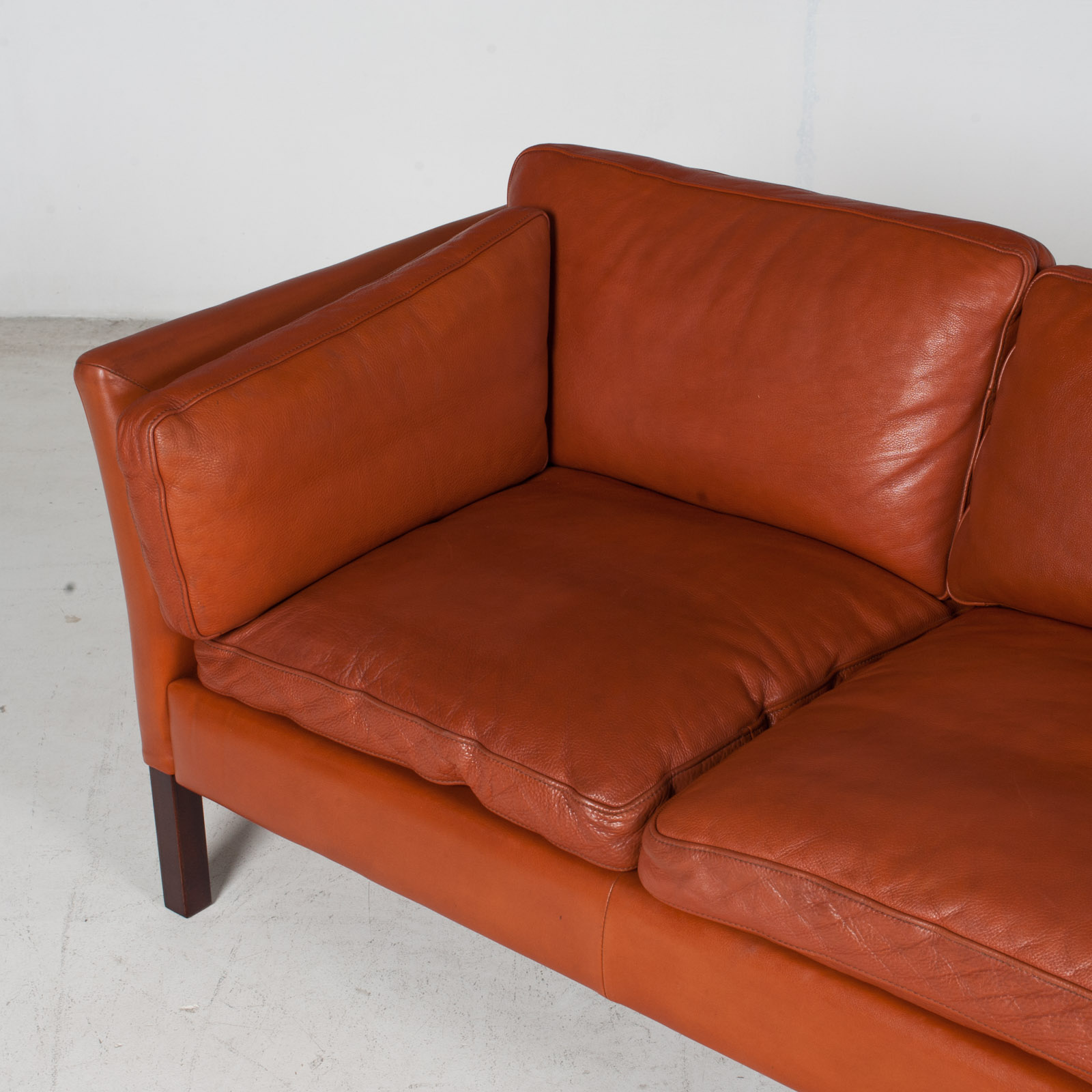 3 Seat Sofa By Stouby In Tan Leather, 1960s, Denmark 6