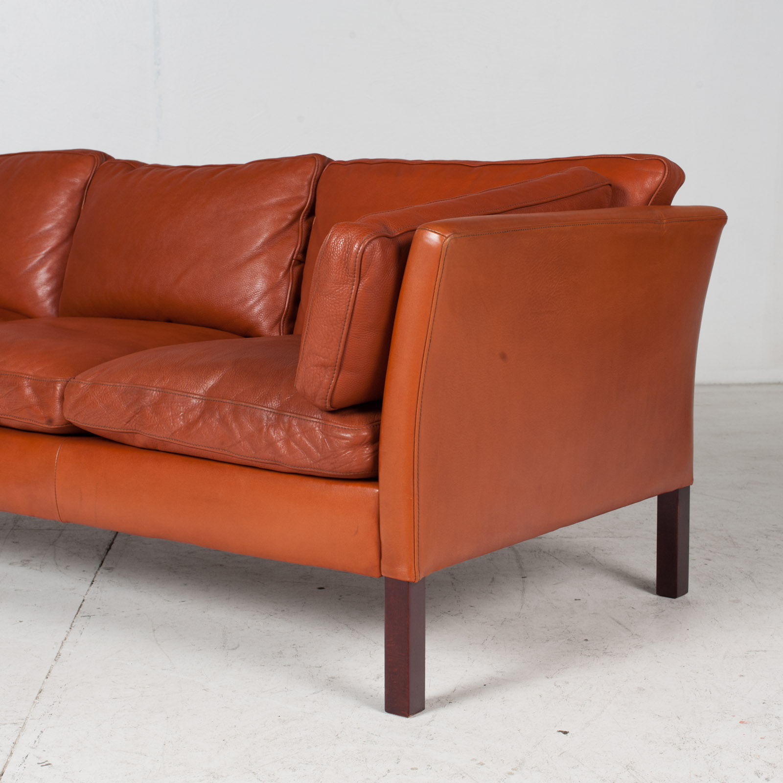 3 Seat Sofa By Stouby In Tan Leather, 1960s, Denmark 7