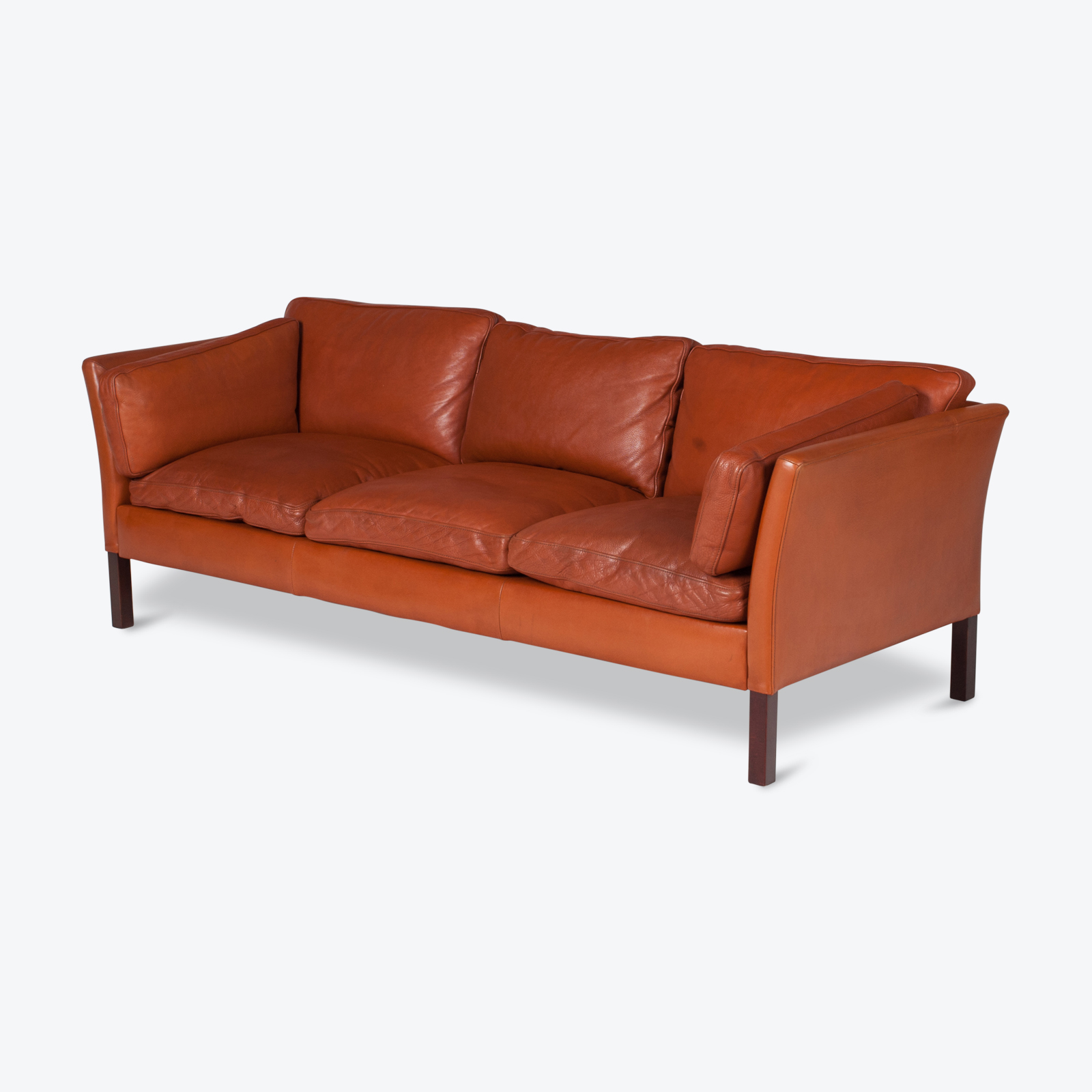 3 Seat Sofa By Stouby In Tan Leather, 1960s, Denmark Hero 1