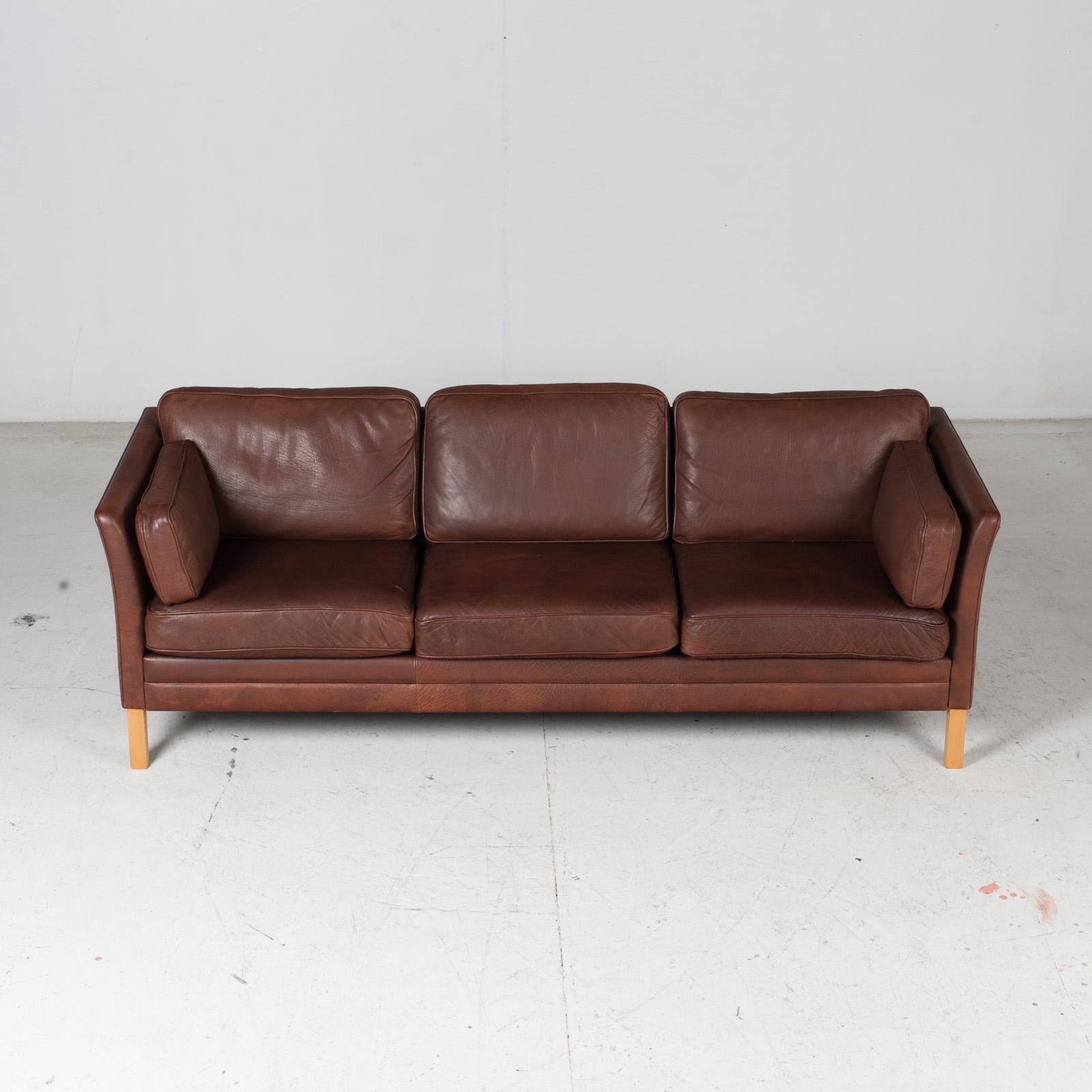 3 Seat Sofa In Brown Leather With Beech Legs, 1960s, Denmark 1