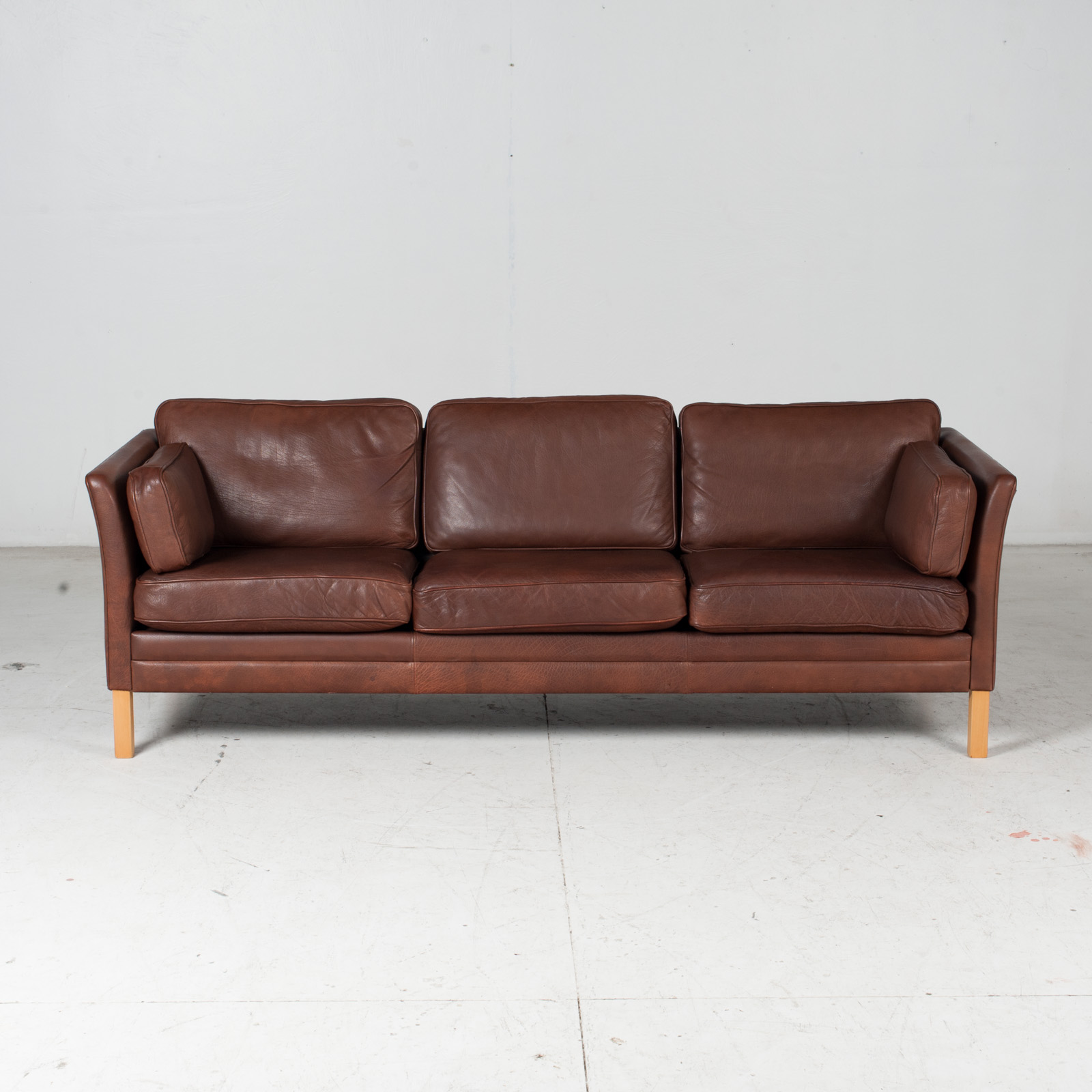 3 Seat Sofa In Brown Leather With Beech Legs, 1960s, Denmark 2