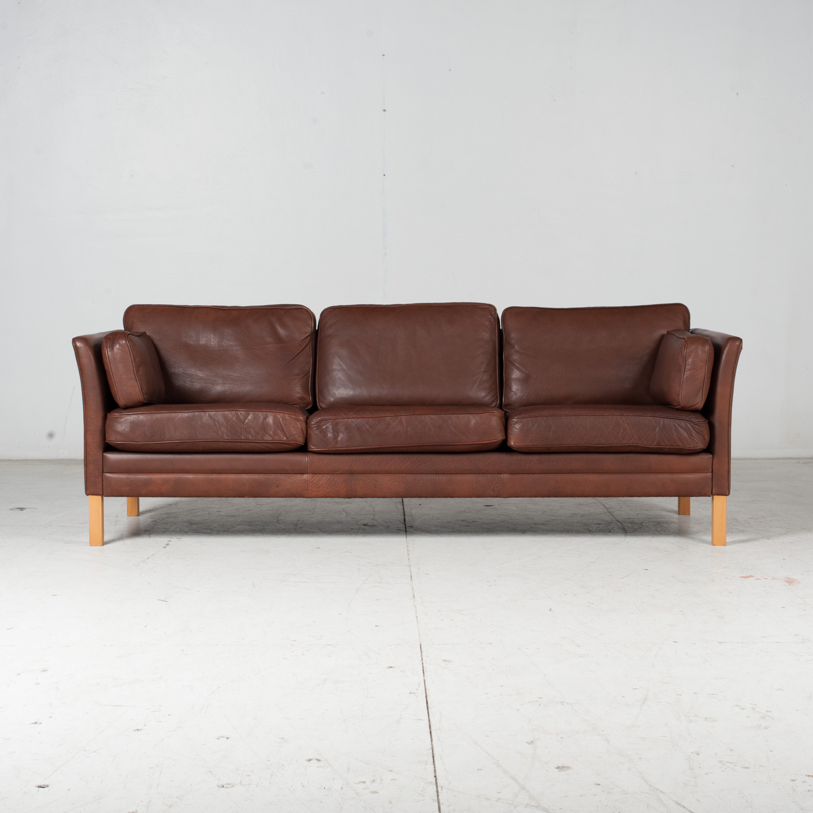 3 Seat Sofa In Brown Leather With Beech Legs, 1960s, Denmark 3