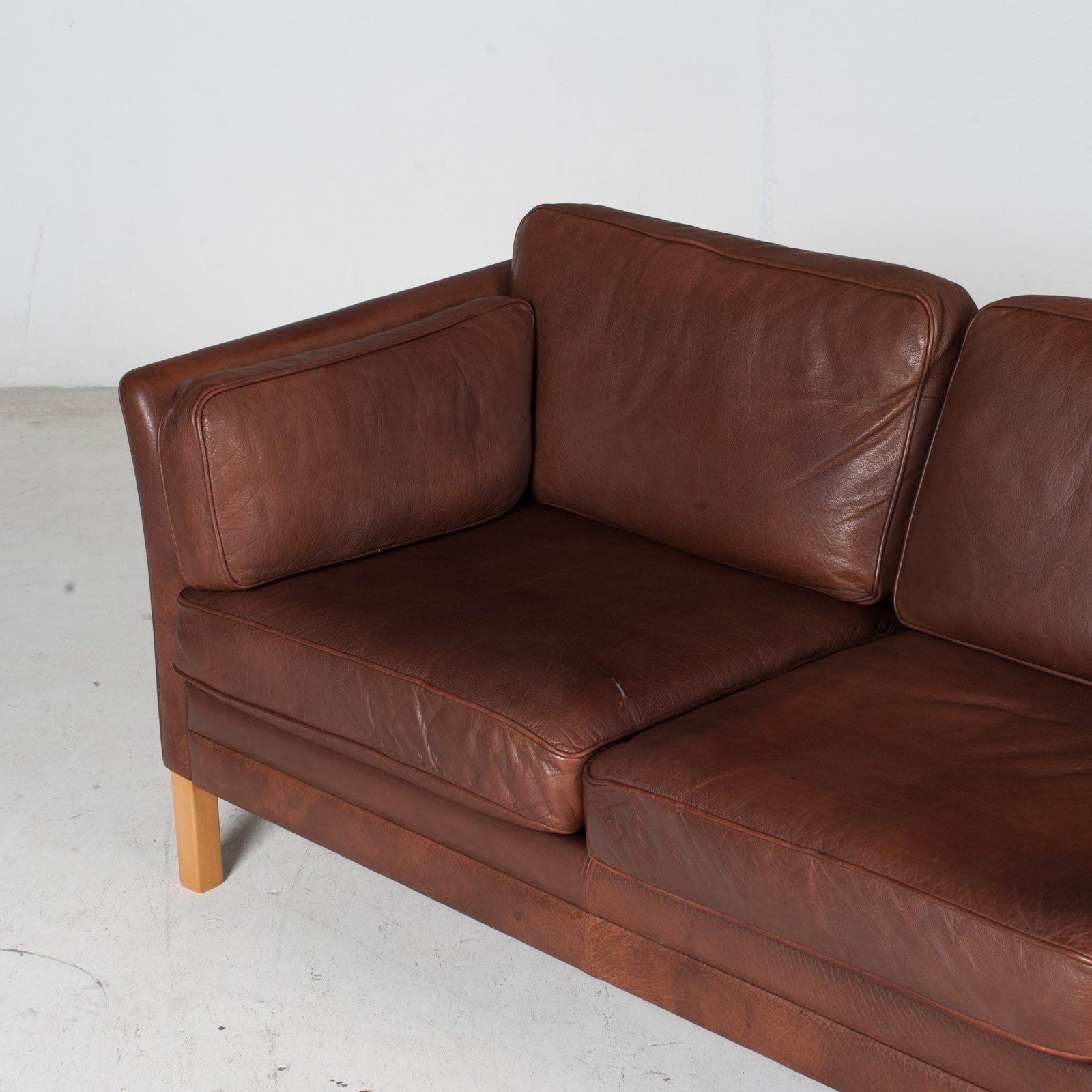 3 Seat Sofa In Brown Leather With Beech Legs, 1960s, Denmark 5