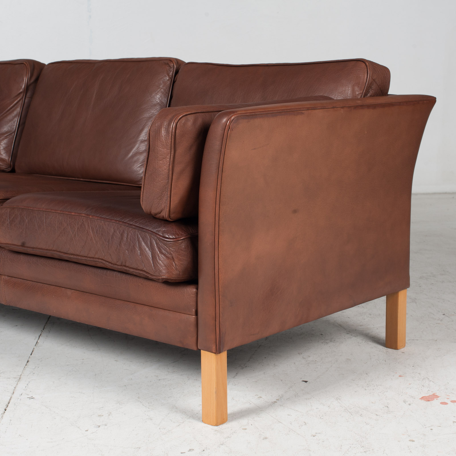 3 Seat Sofa In Brown Leather With Beech Legs, 1960s, Denmark 6