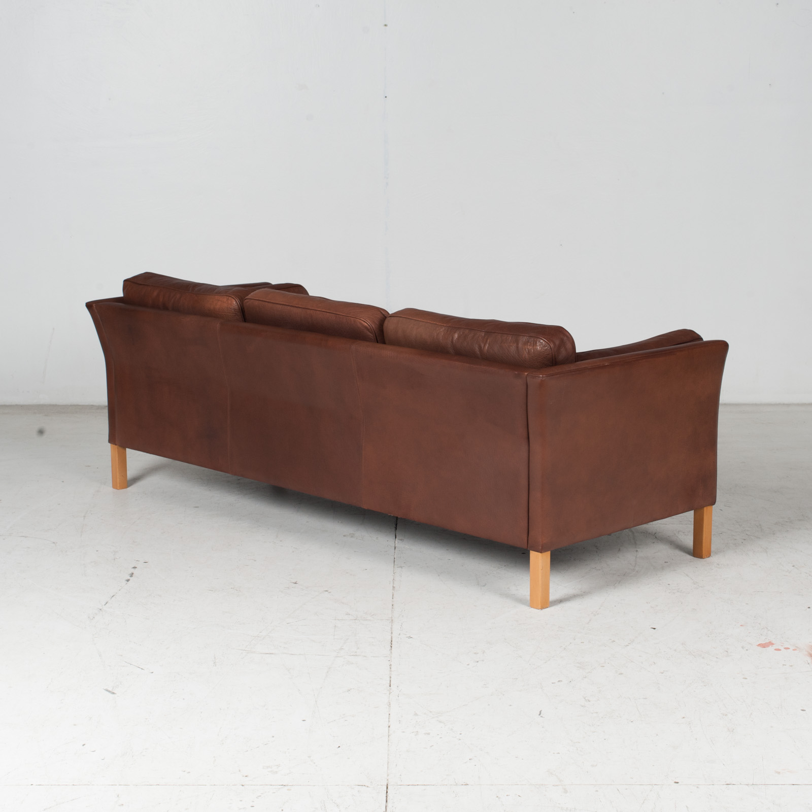 3 Seat Sofa In Brown Leather With Beech Legs, 1960s, Denmark 7