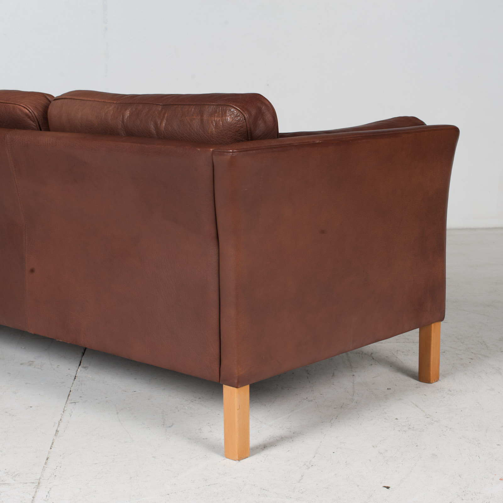 3 Seat Sofa In Brown Leather With Beech Legs, 1960s, Denmark 8